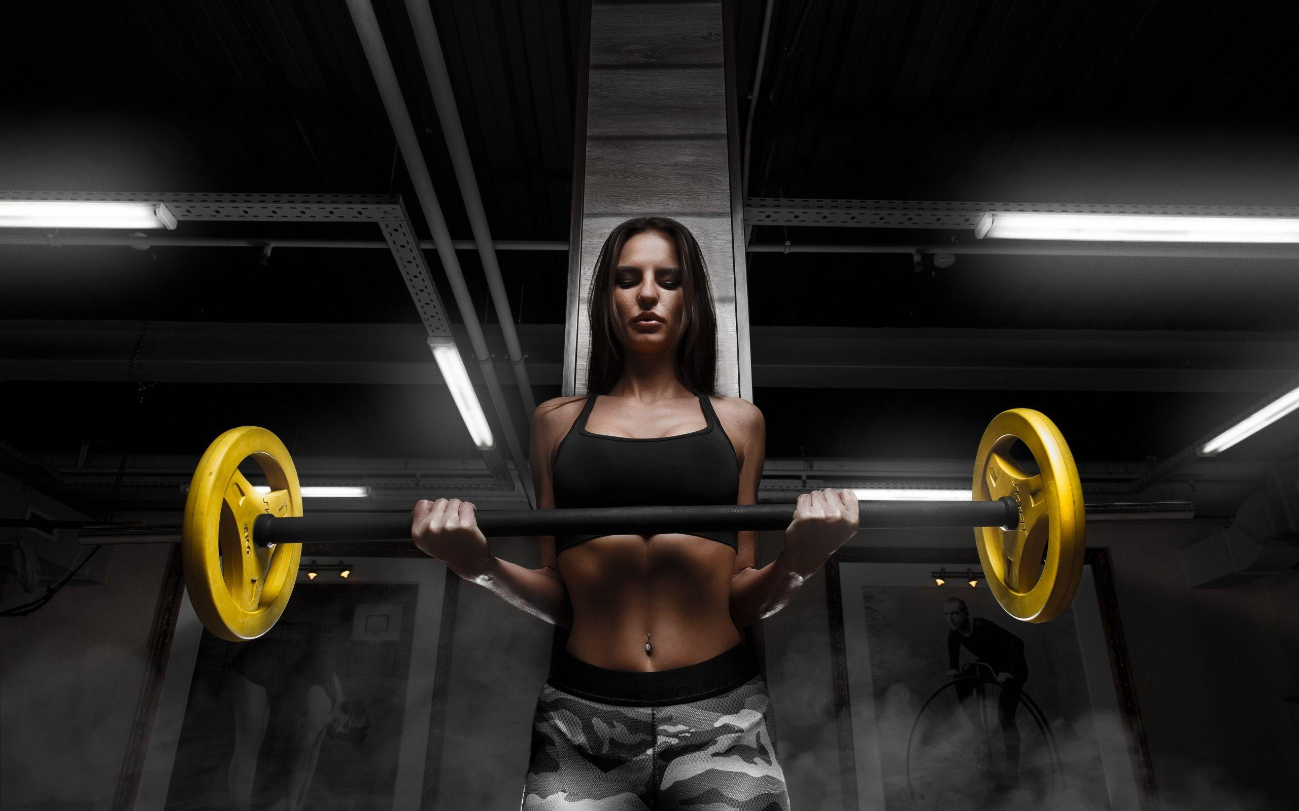 Download wallpapers gym, fitness, barbell, workout, Sports girl ...