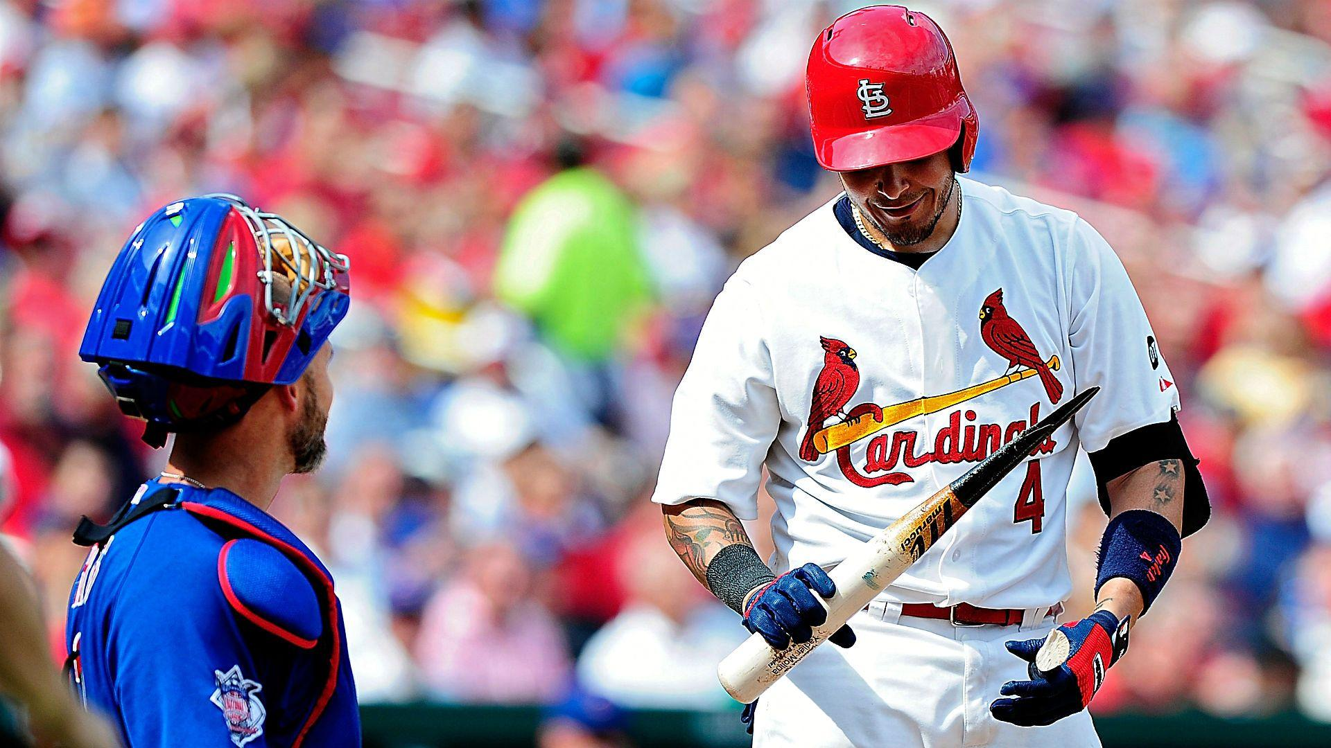 Yadier Molina shattered his bat while attempting to tap home plate