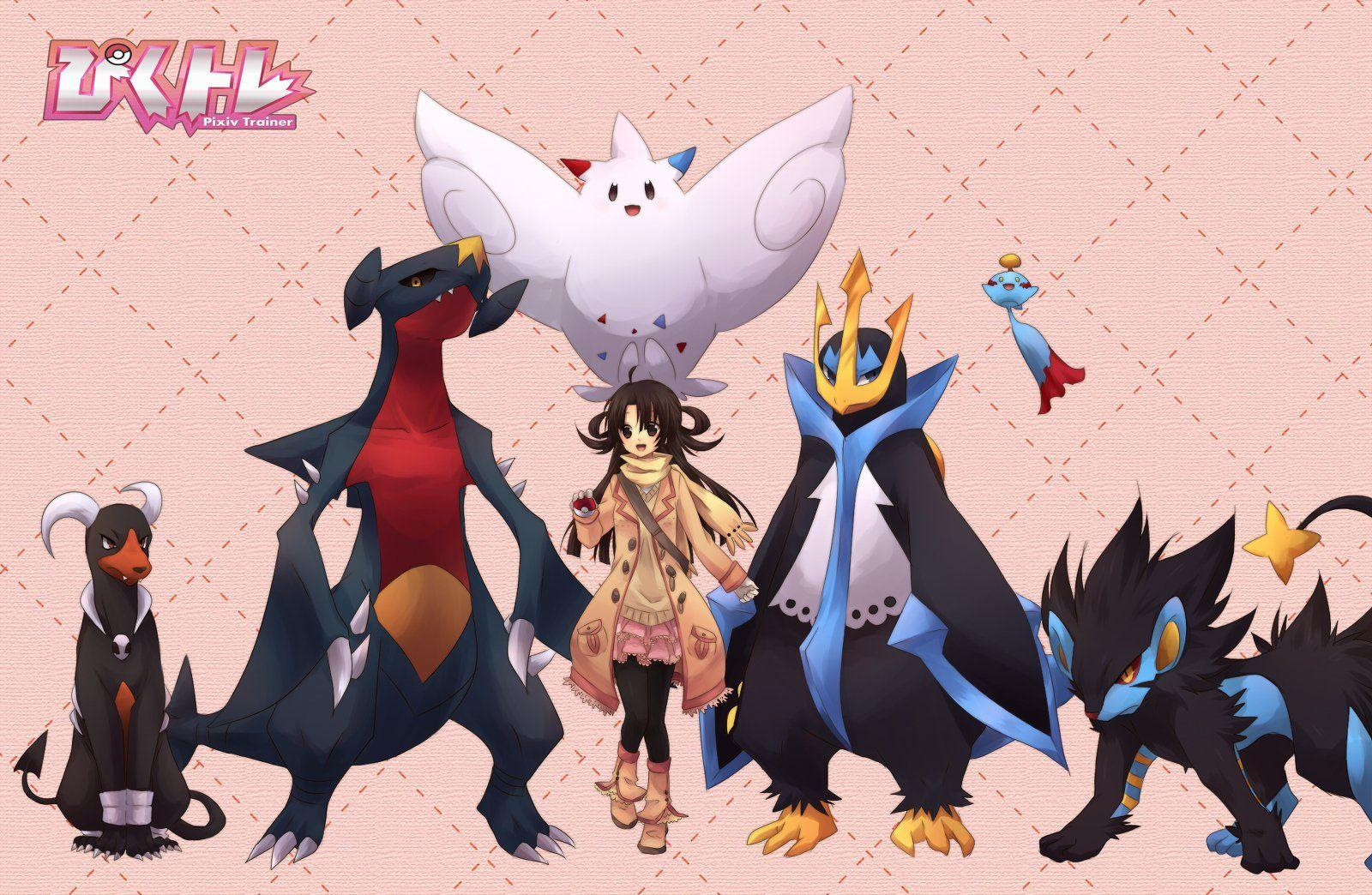 Pokemon brown eyes brown hair chimecho empoleon garchomp houndoom
