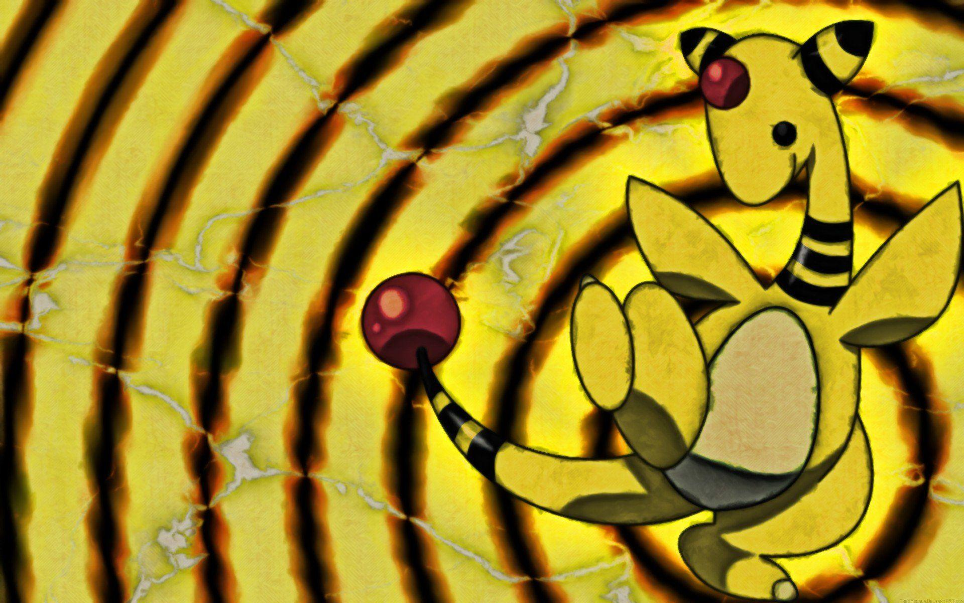 Pokemon, Electricity, Ampharos, Yellow, Black HD Wallpapers