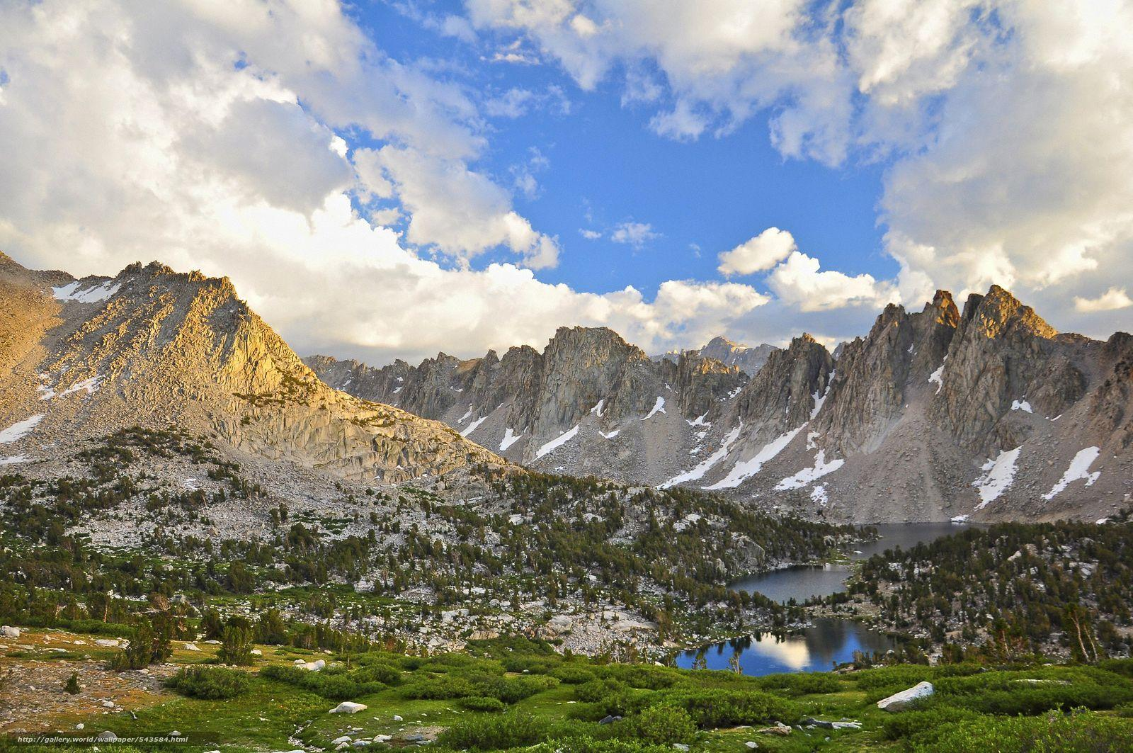 Download wallpapers sunset, Kearsarge Pinnacles, Kings Canyon
