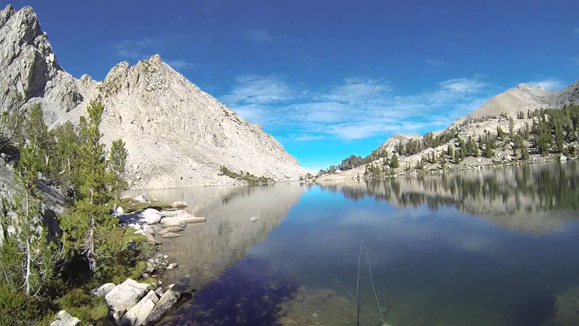 Fishing for trout in Kearsarge Lake in the Kings Canyon National