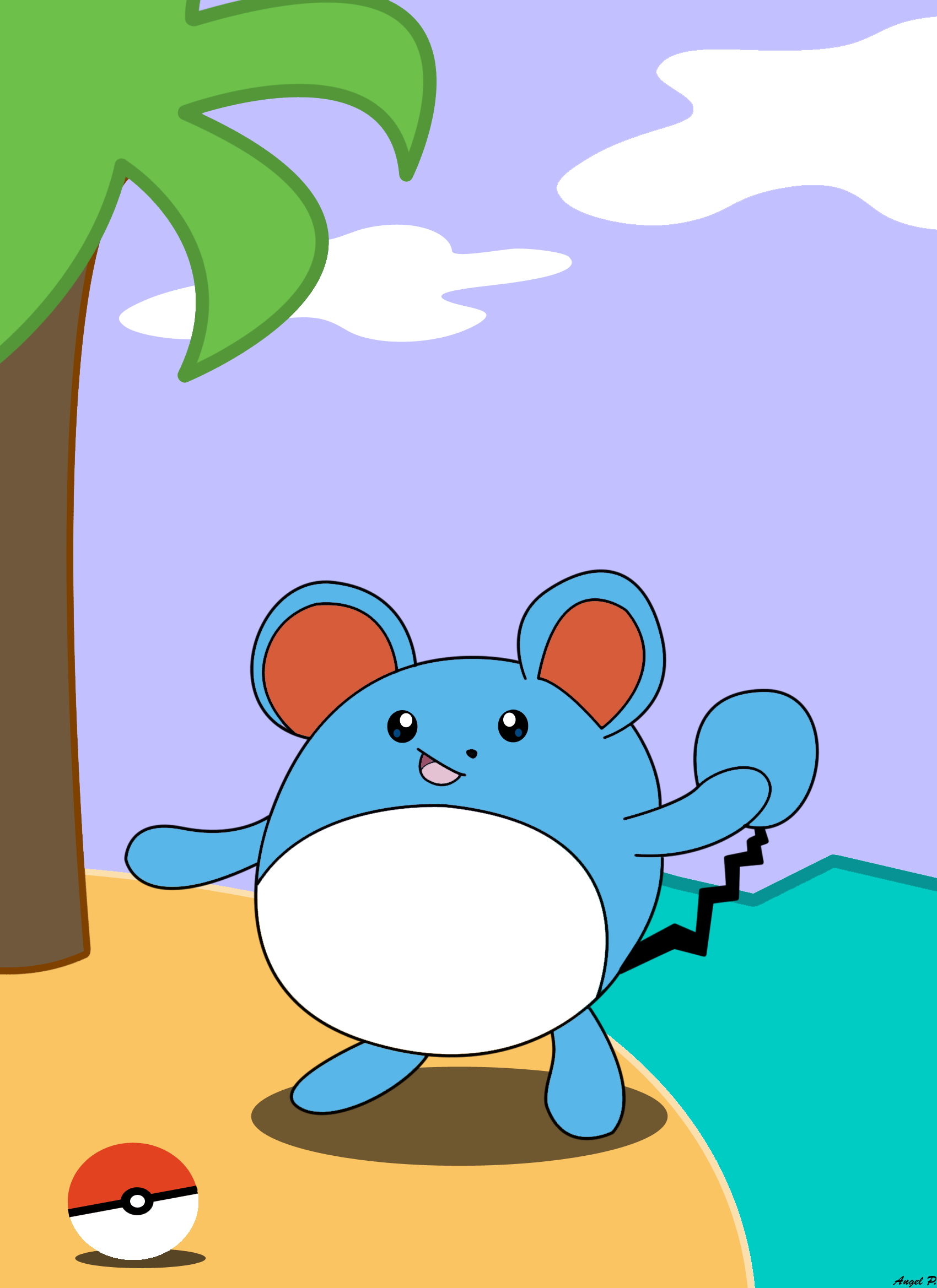 Marill At The Beach by Angello16 on DeviantArt