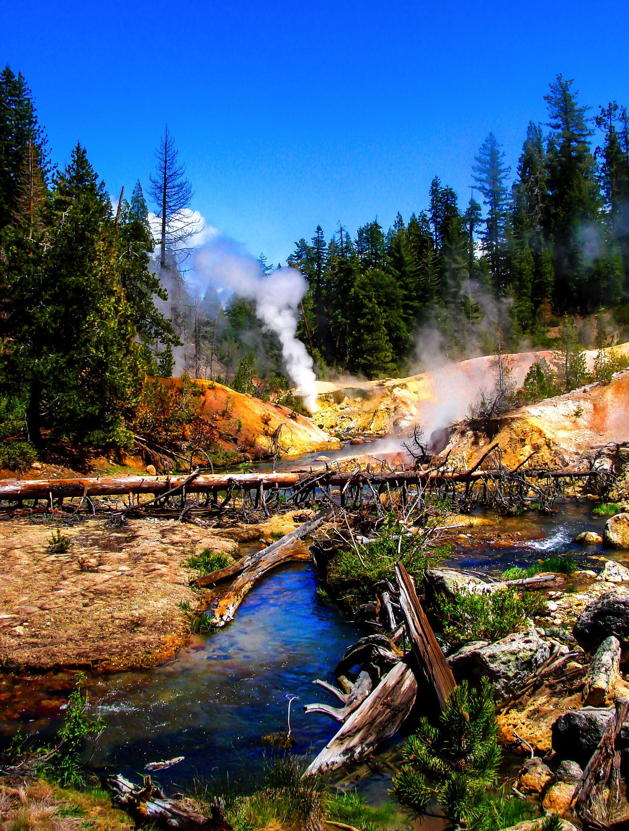 Lassen Volcanic National Park is home to smoking fumaroles ...
