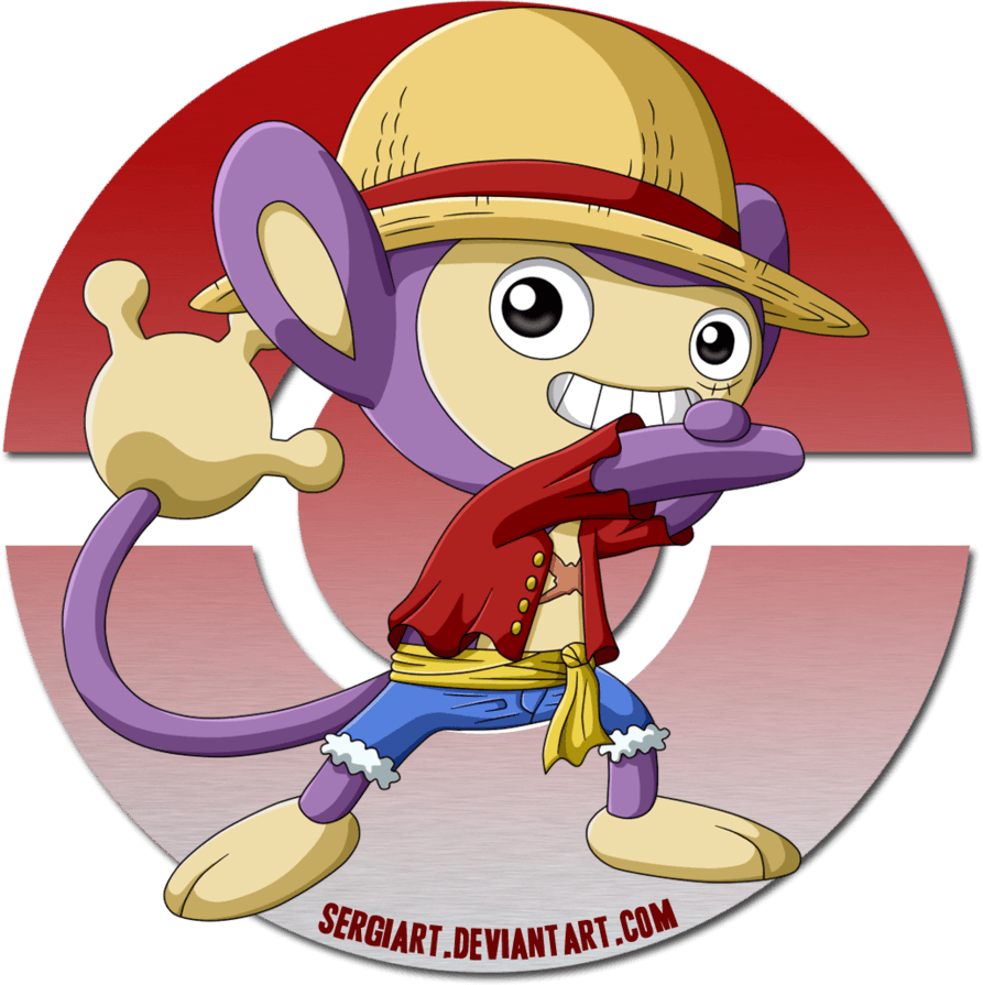 One Piece x Pokemon - Luffy x Aipom by SergiART on DeviantArt