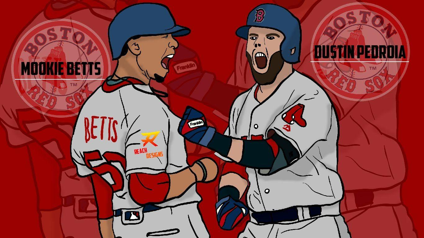 Dustin Pedroia and Mookie Betts Illustration // By Reach