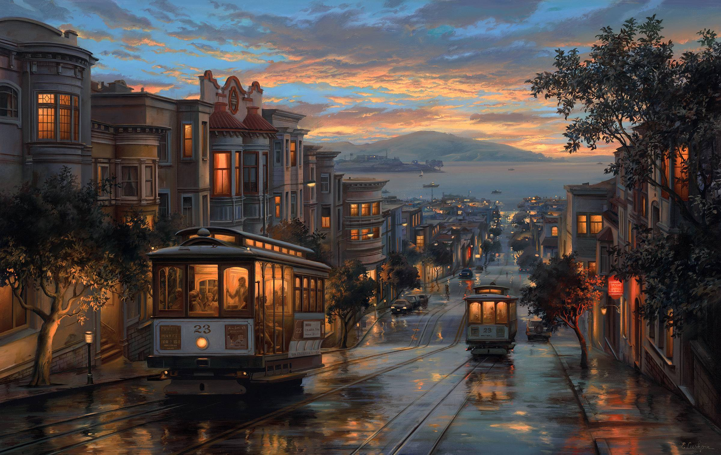 Streetcars in San Francisco on a Rainy Night Full HD Wallpaper and .