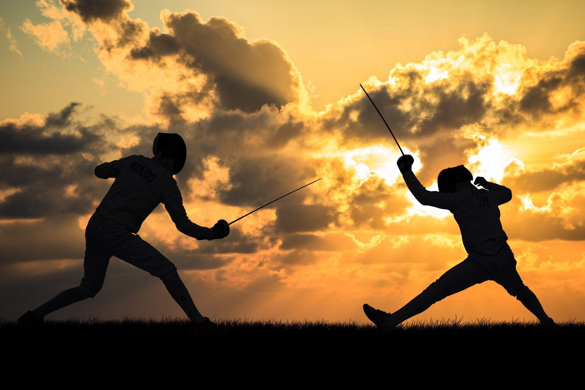 sports fencing combat foil the sword sword silhouettes outright ...