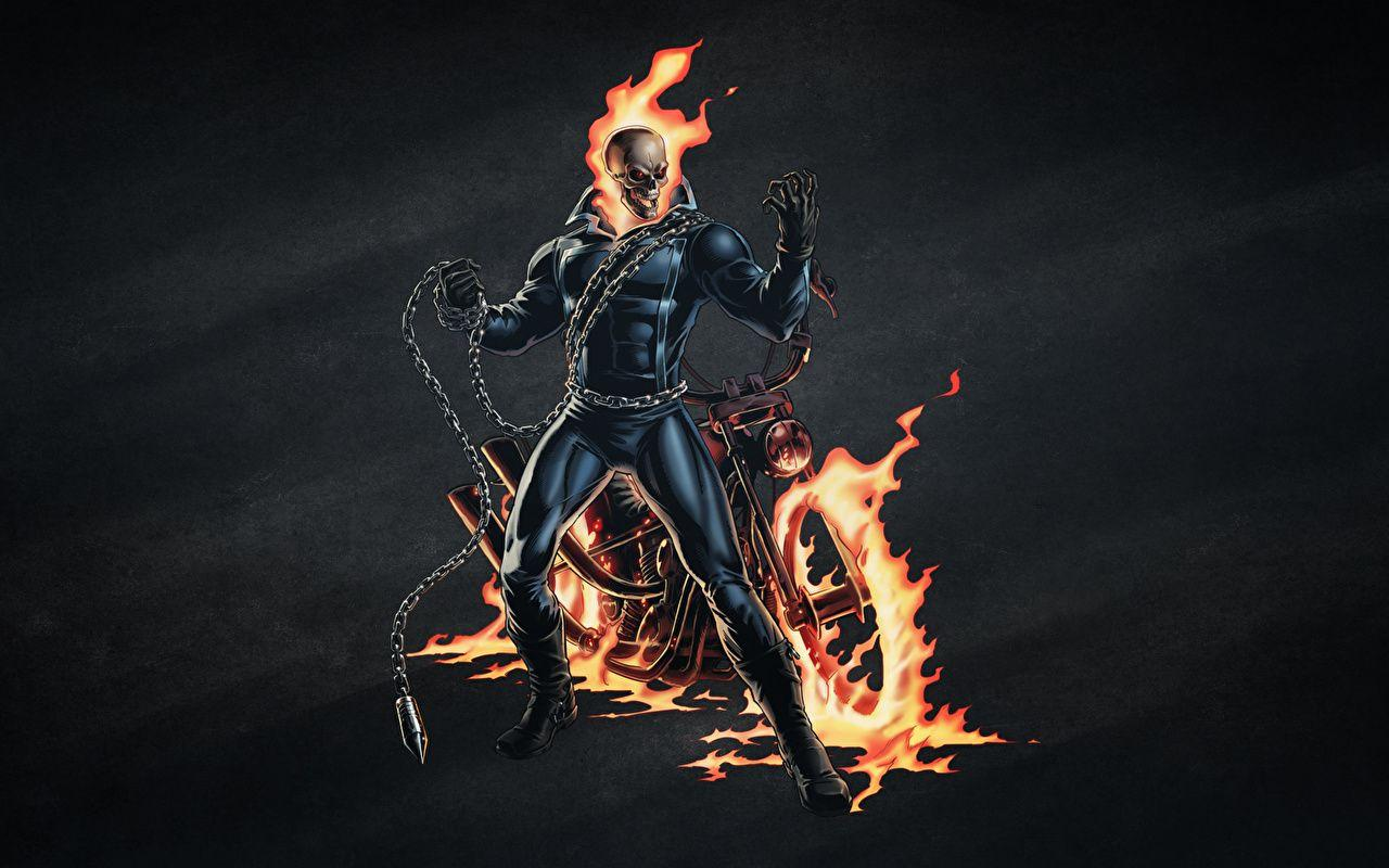 Photo Ghost Rider Skulls Skeleton Fire Chain Movies