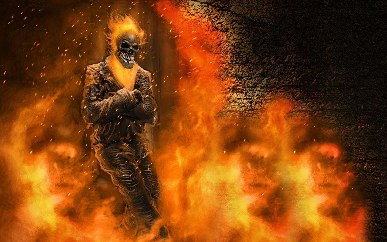 Image Ghost Rider Skeleton Fire Movies