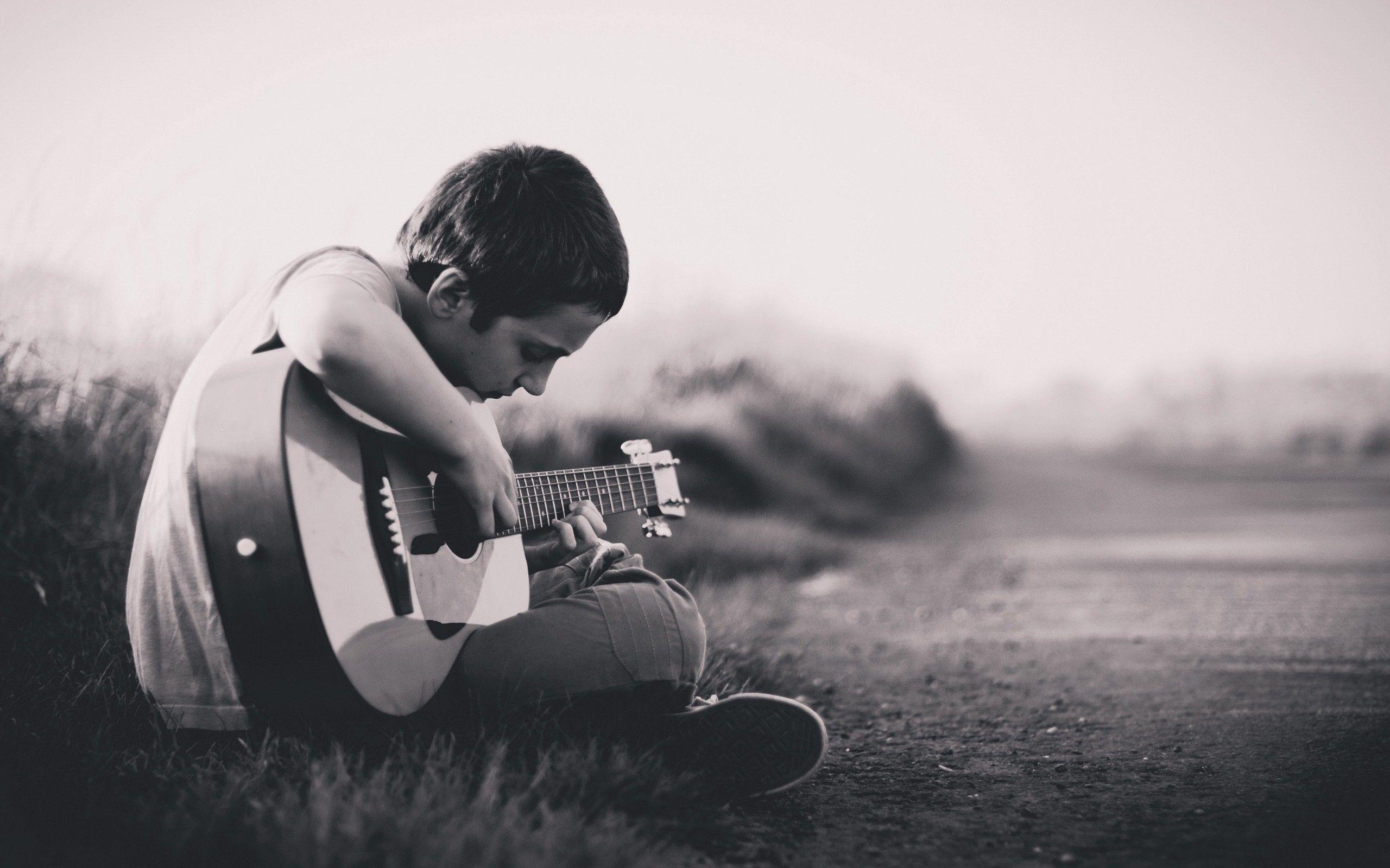 Boy Play Guitar HD Wallpapers