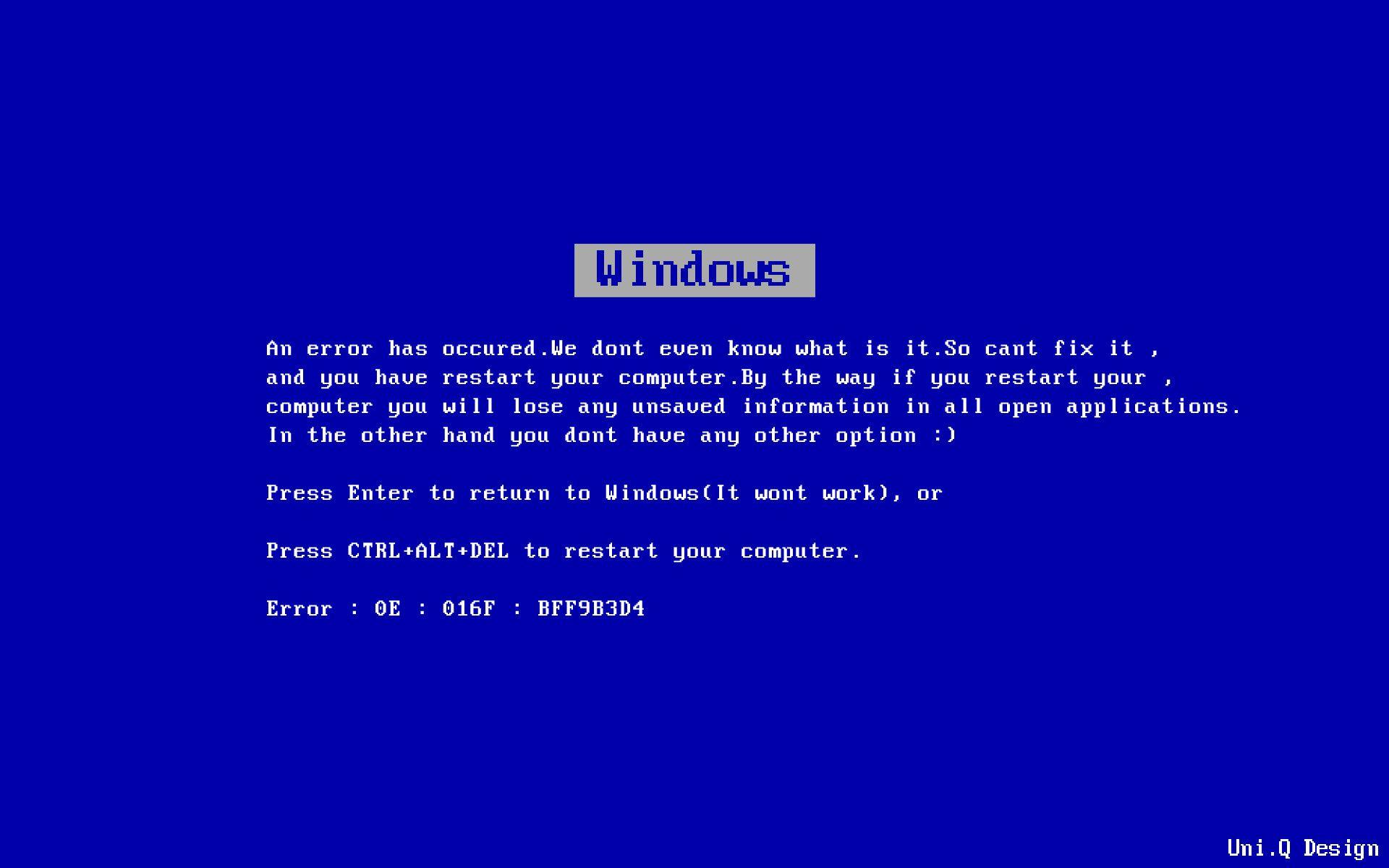 Blue Screen of Death Background ·①