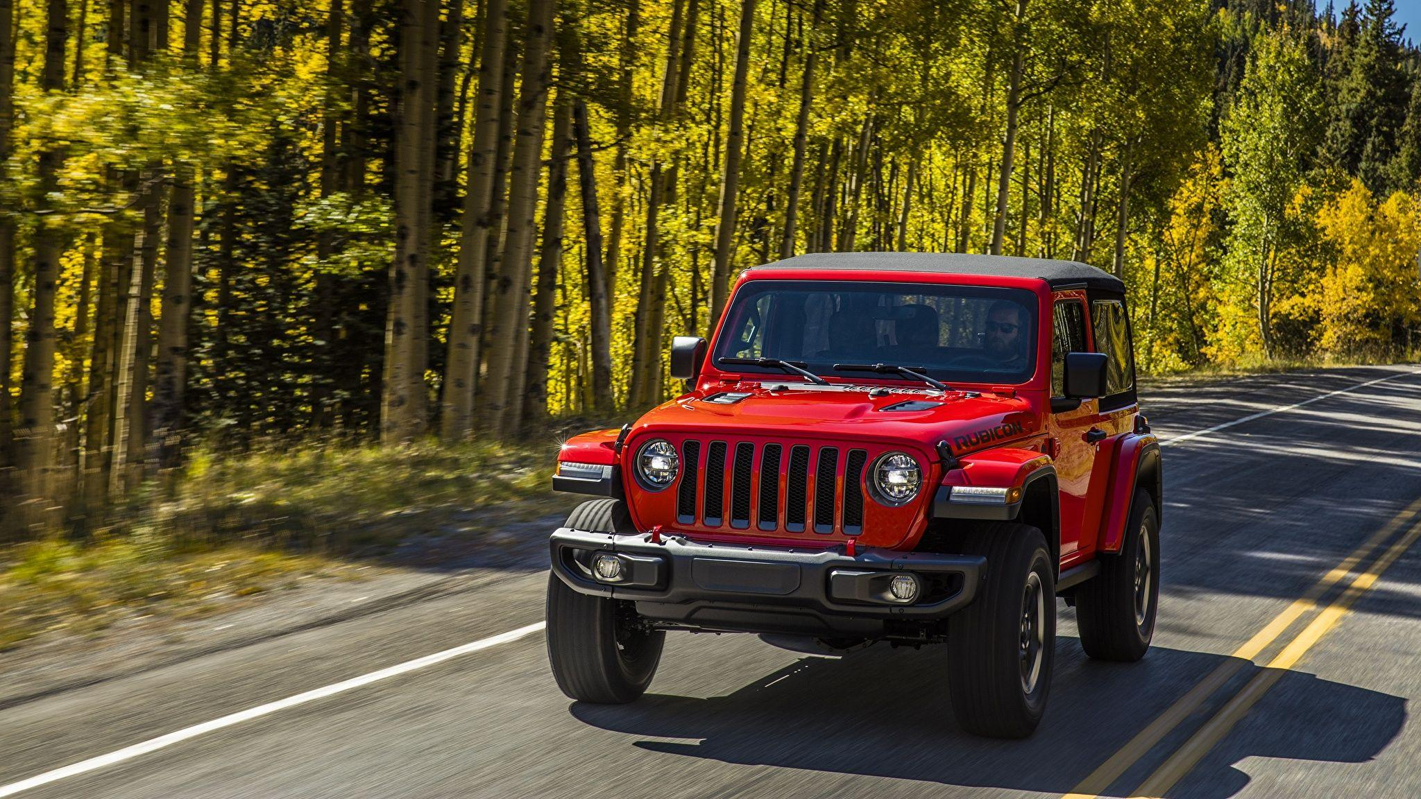 Photos Jeep Wrangler Rubicon 2018 Red Cars 2048x1152
