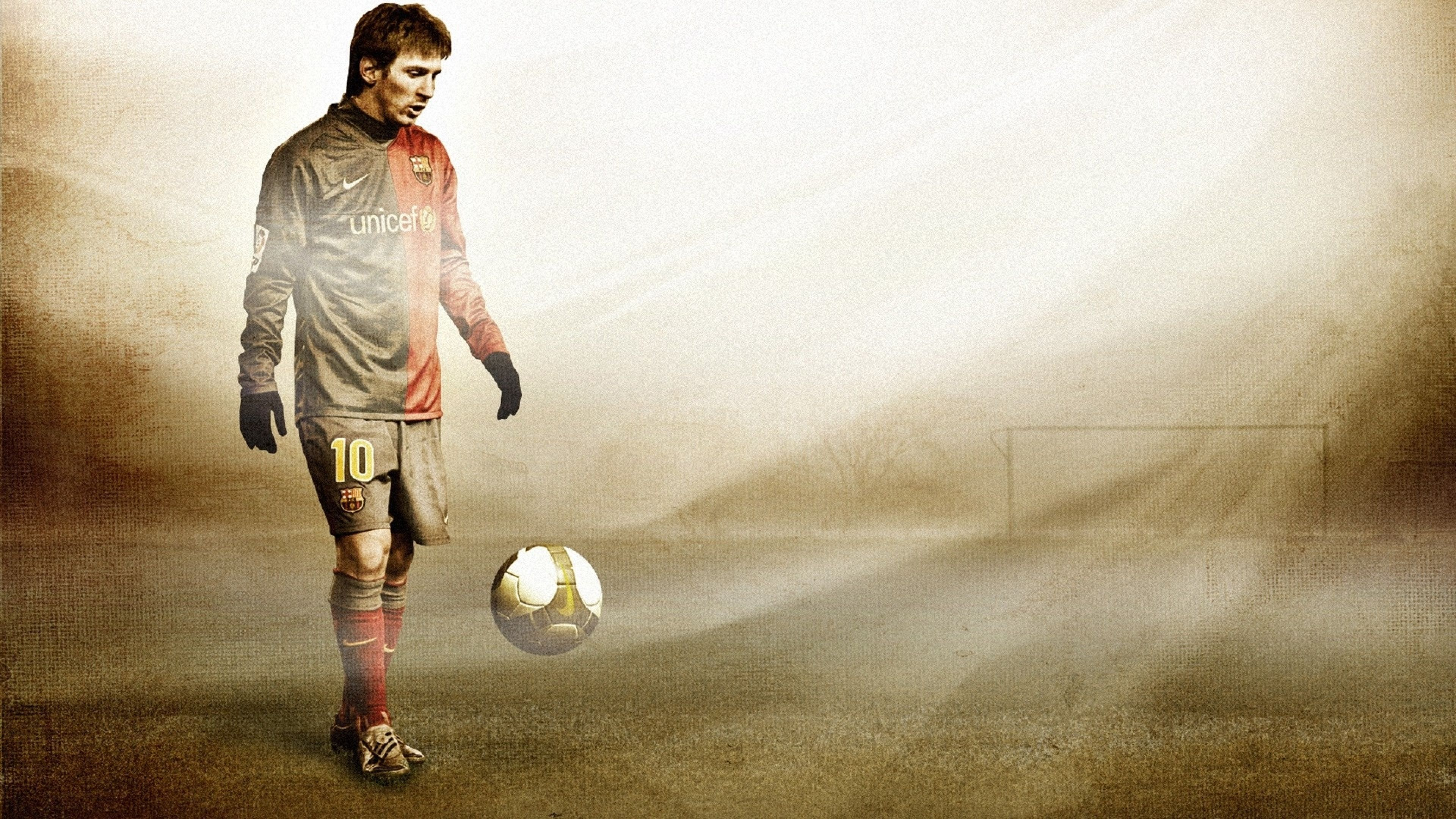 Download Wallpapers 3840x2160 Lionel messi, Football, Ball, Field
