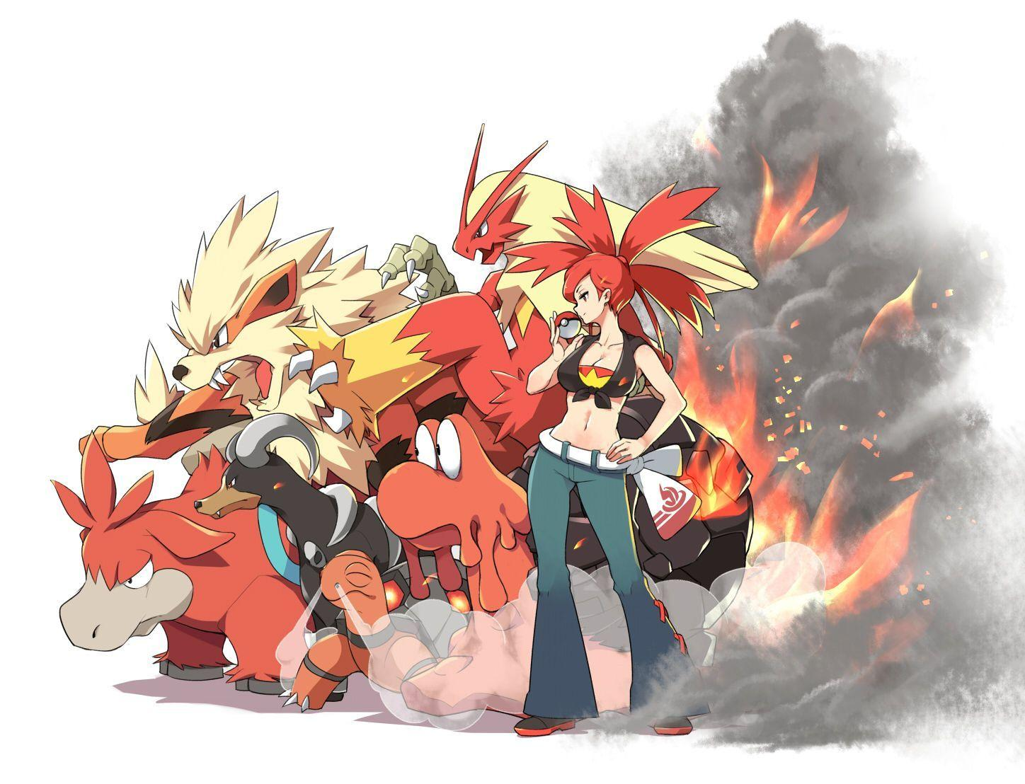 arcanine asuna_(pokemon) blaziken breasts camerupt cleavage fire ...