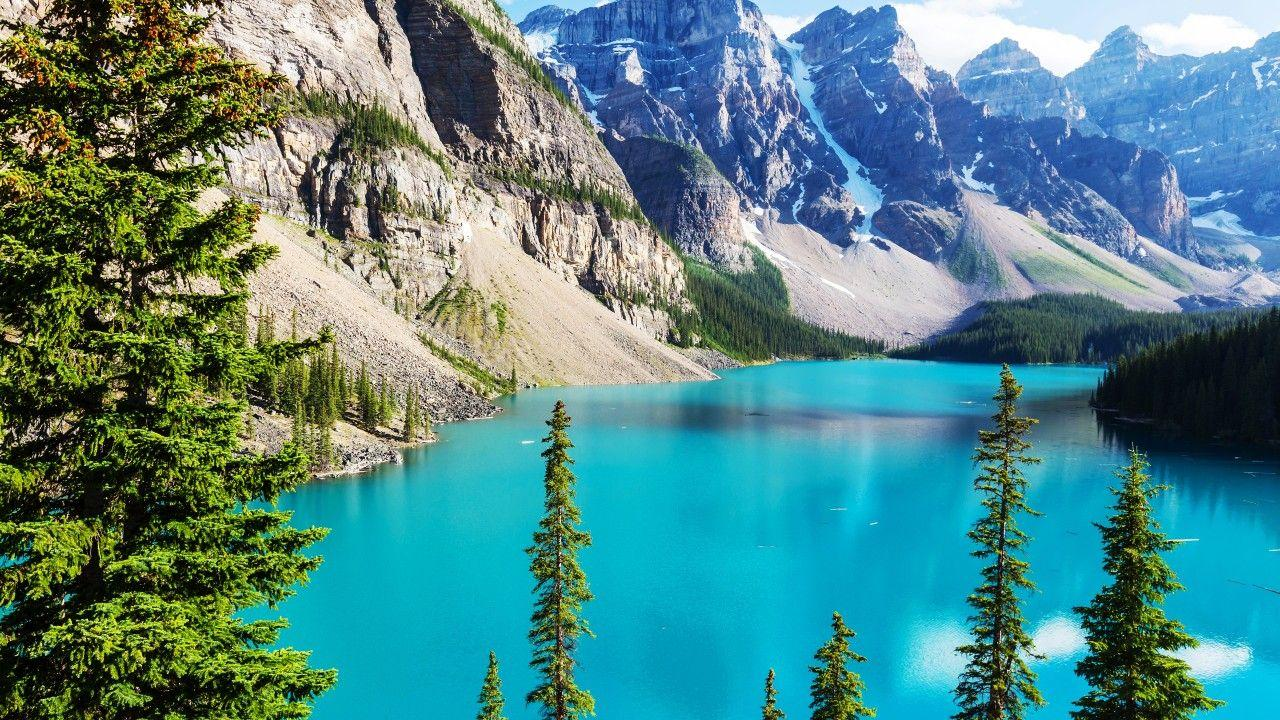 Wallpapers Moraine Lake, Banff National Park, Rocky Mountains, 4K