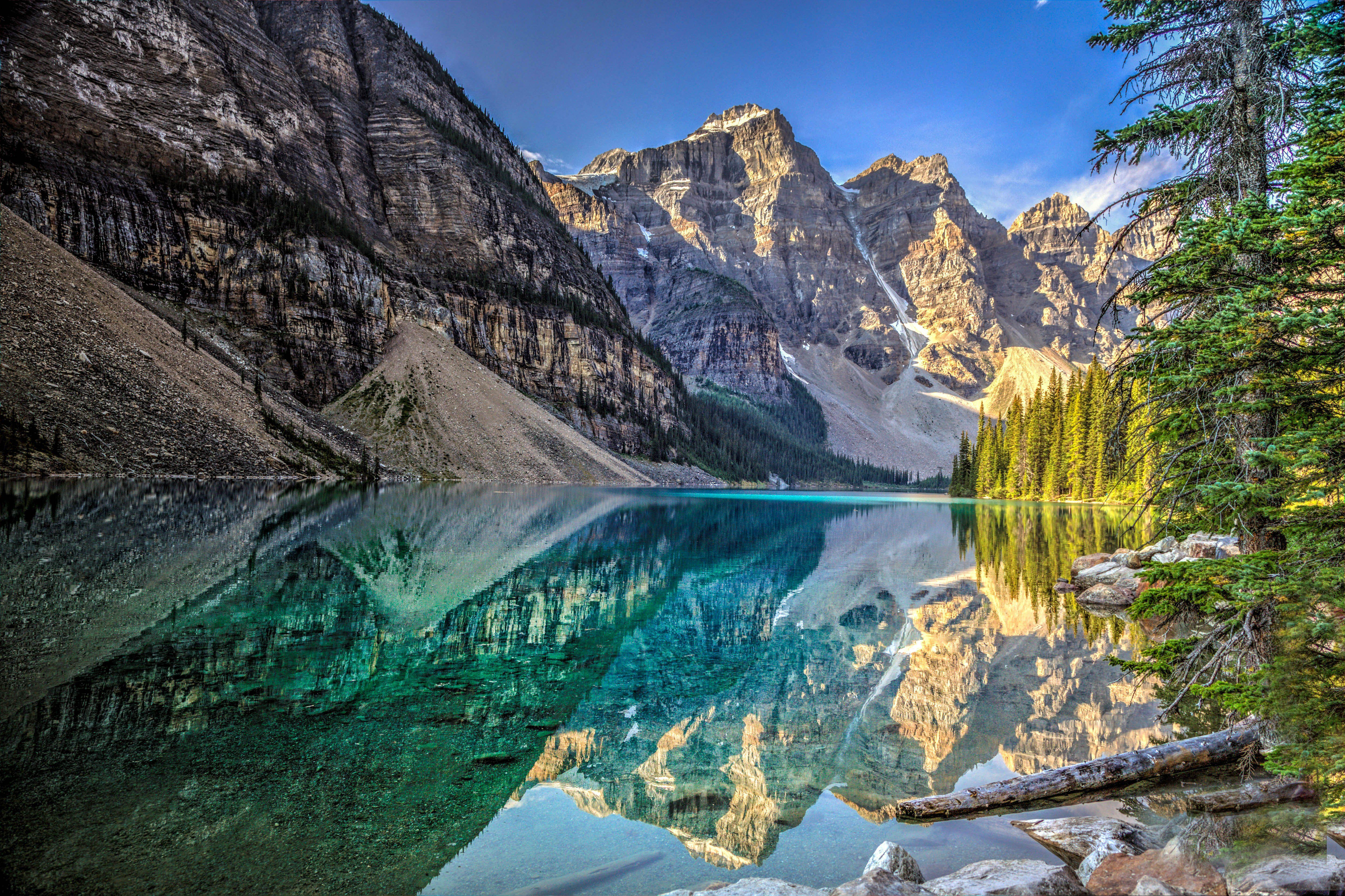 Lake mountains trees landscape Lake Moraine Canada Alberta Banff