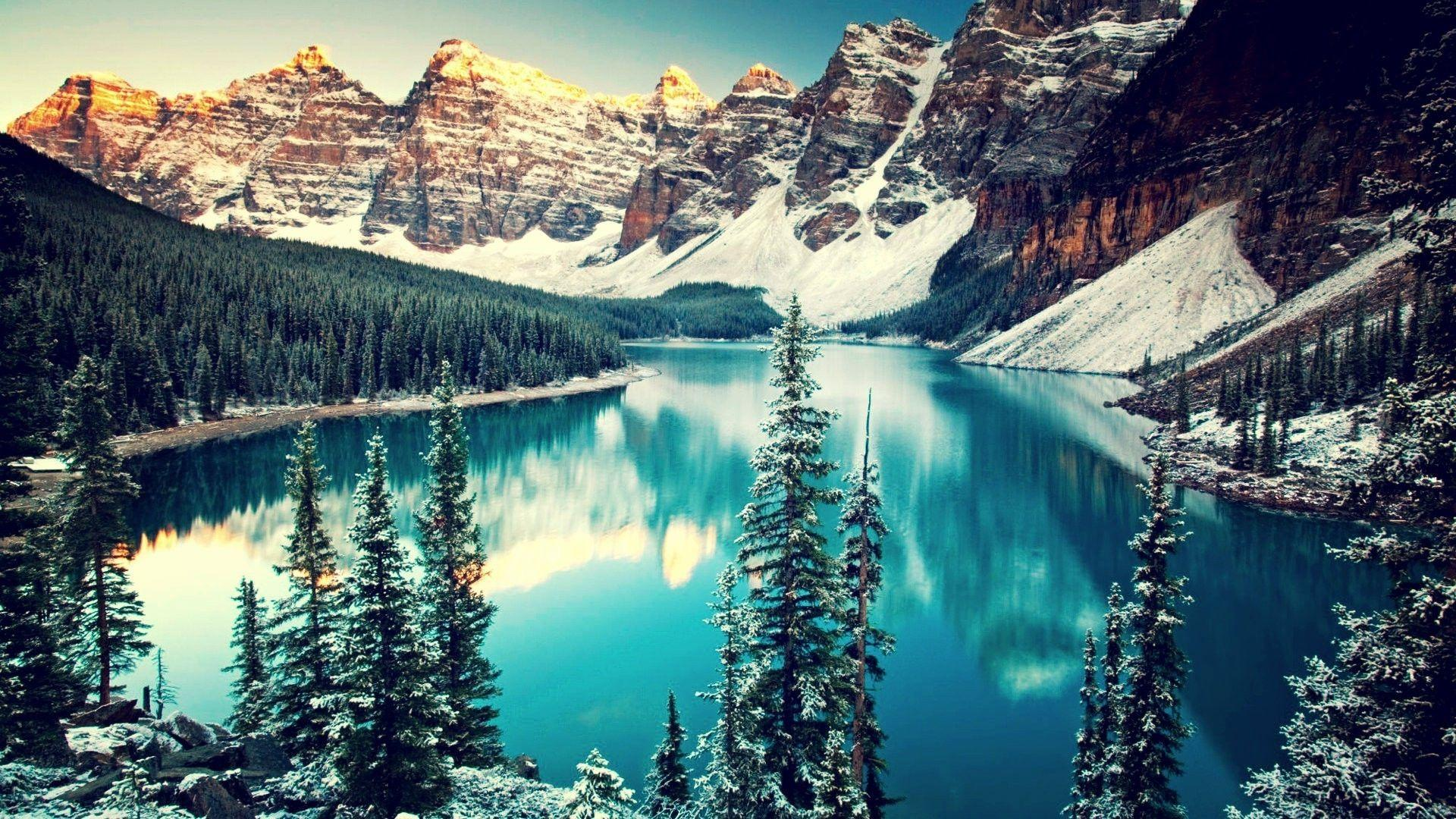 mountain, Trees, Snow, Water, Moraine Lake, Canada, Lake, Forest