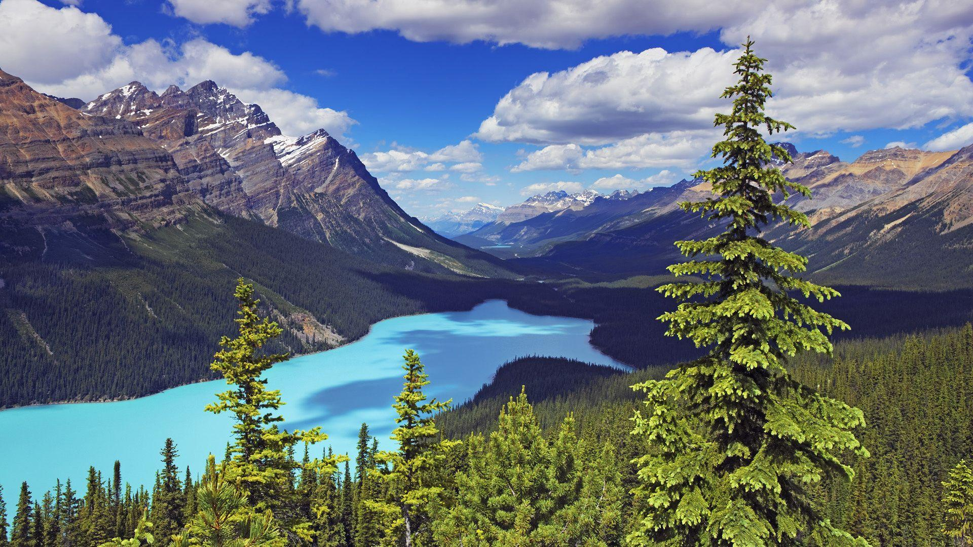 Wallpapers canada, alberta, mountain, lake, rock, sky desktop