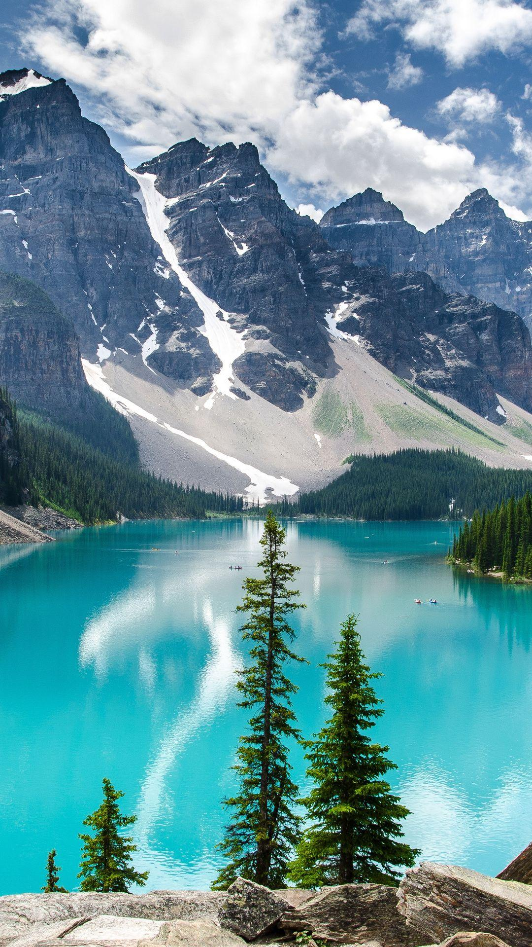 1080x1920 trees, banff national park, mountains, lake, moraine lake