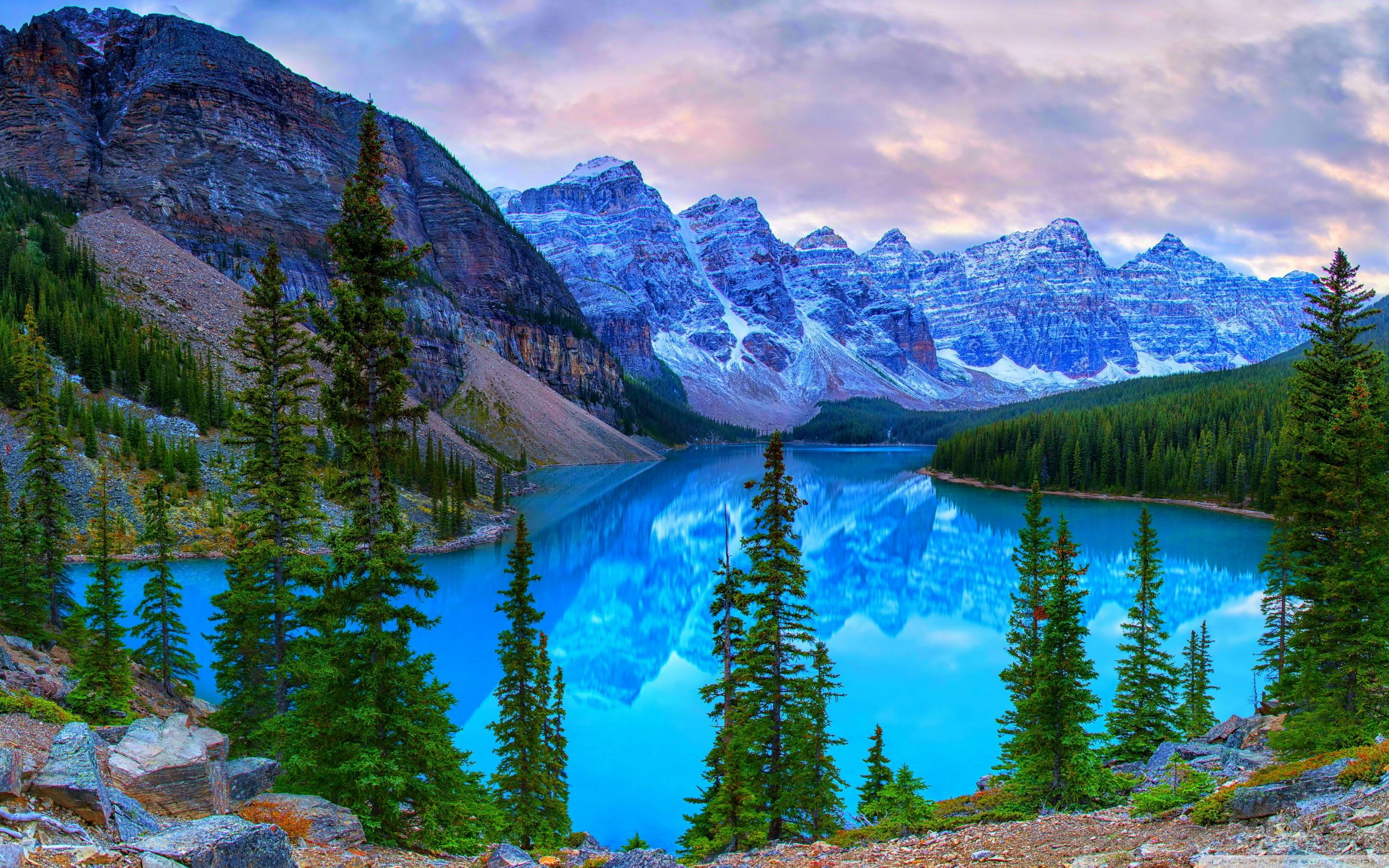 Mountains, Moraine Lake, Banff National Park, Canada ❤ 4K HD