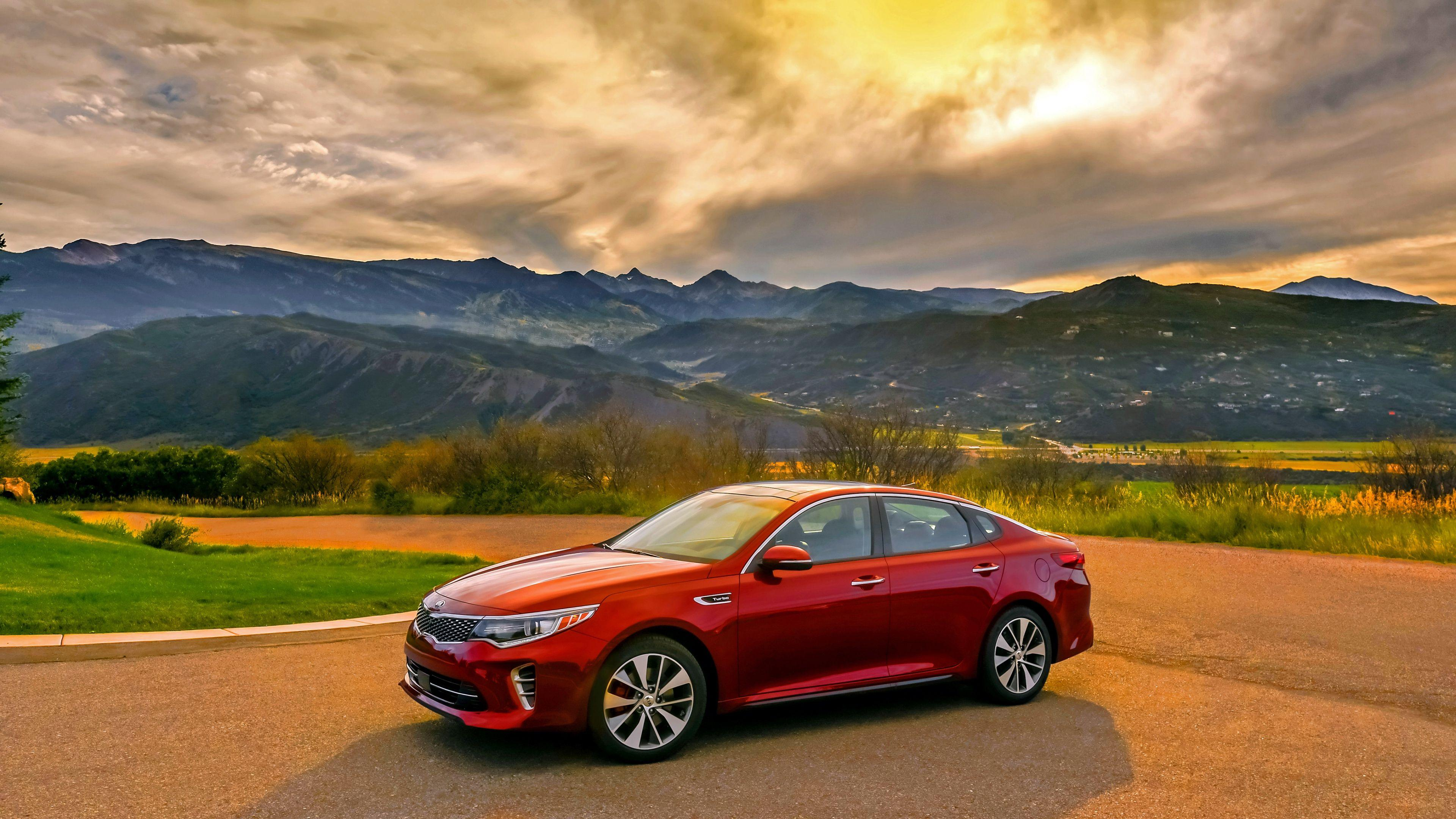 Download Wallpaper 3840x2160 Kia, Optima, Red, Side view, Mountains ...