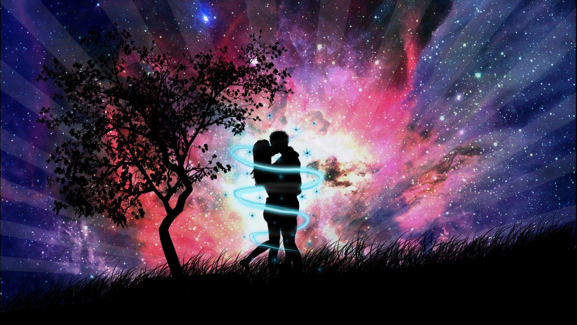 3D Animation Couple Kissing Love Wallpaper