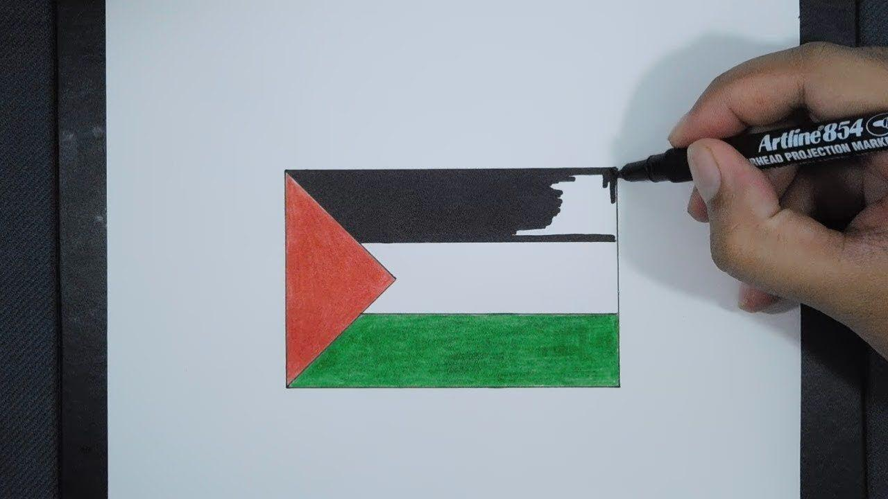 How To Draw Palestine Flag / Cara Menggambar Bendera Palestina