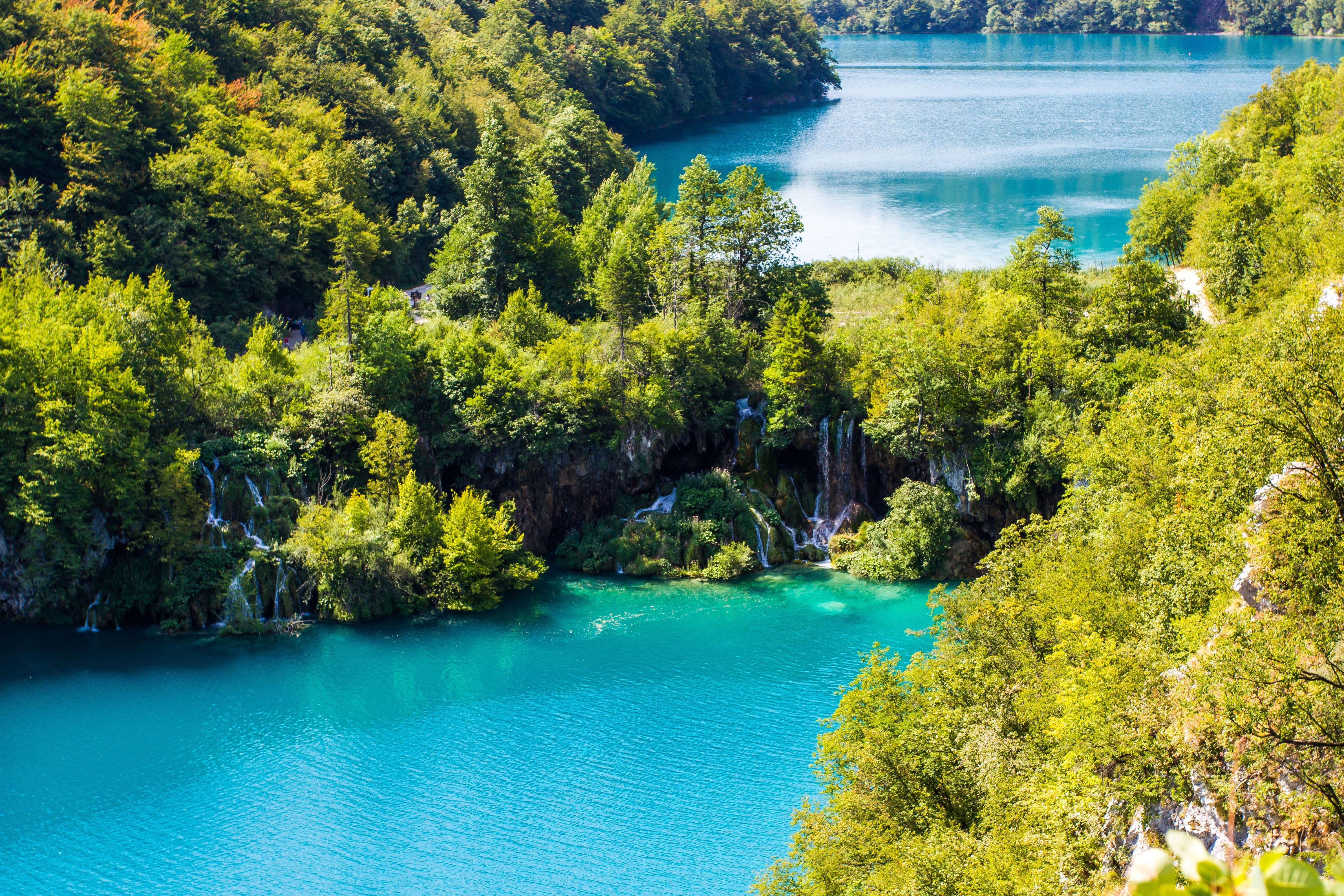 Wallpapers Plitvice Lakes, National Park, Waterfall, 4K, Nature,