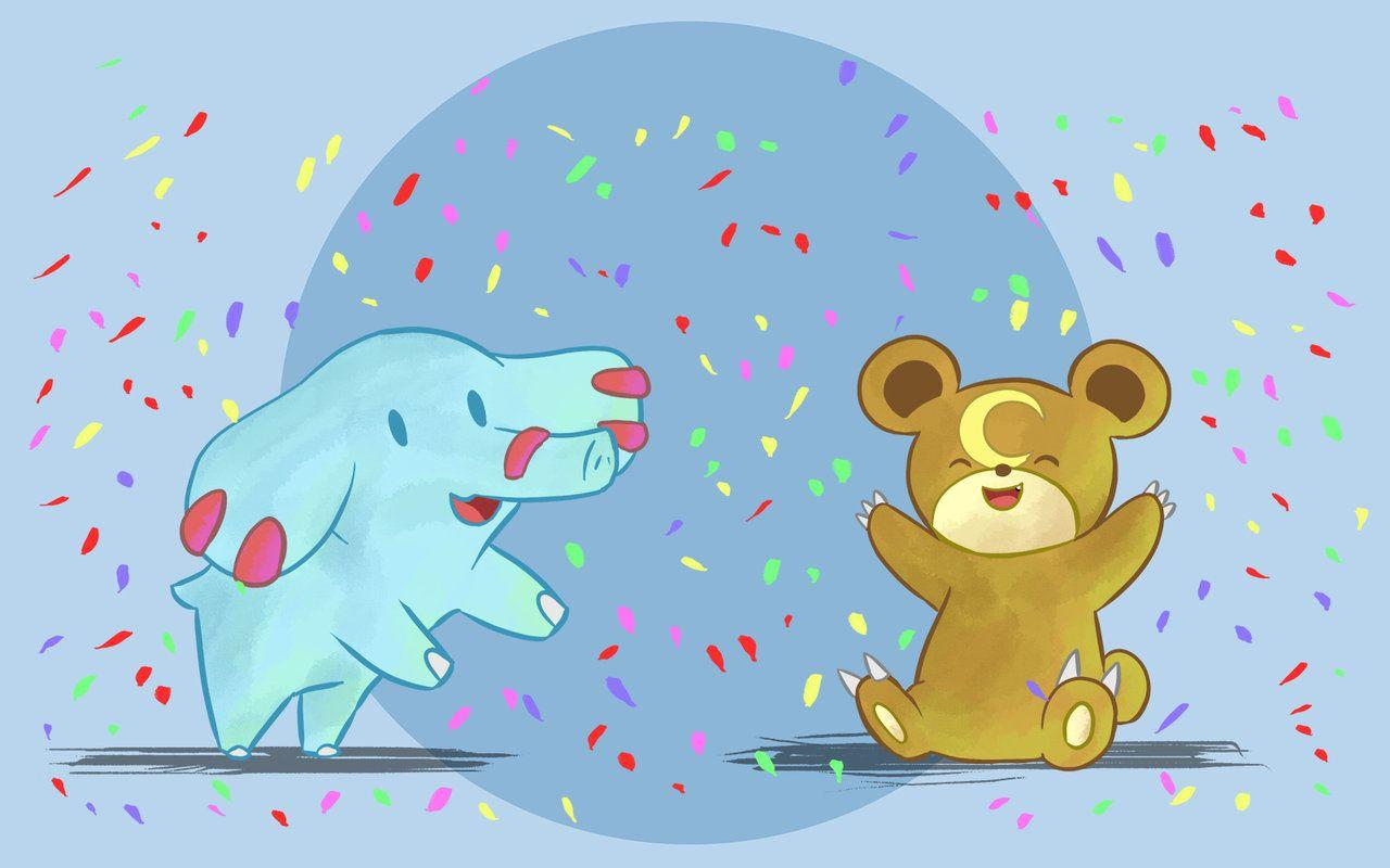 Phanpy and Teddiursa Celebrate by DaILz on DeviantArt