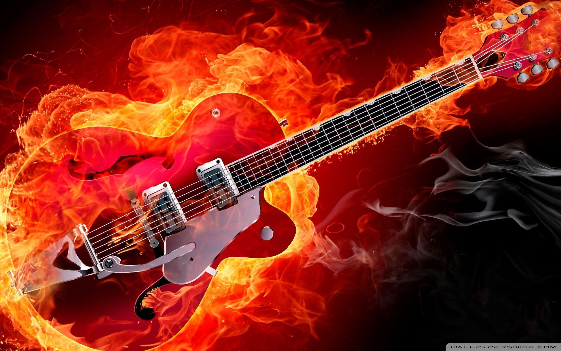 Guitar On Fire Wallpapers Widescreen Wallpaper Cave