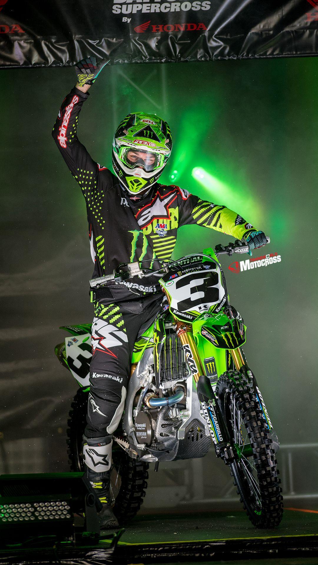 Green Monster Motocross Wallpaper