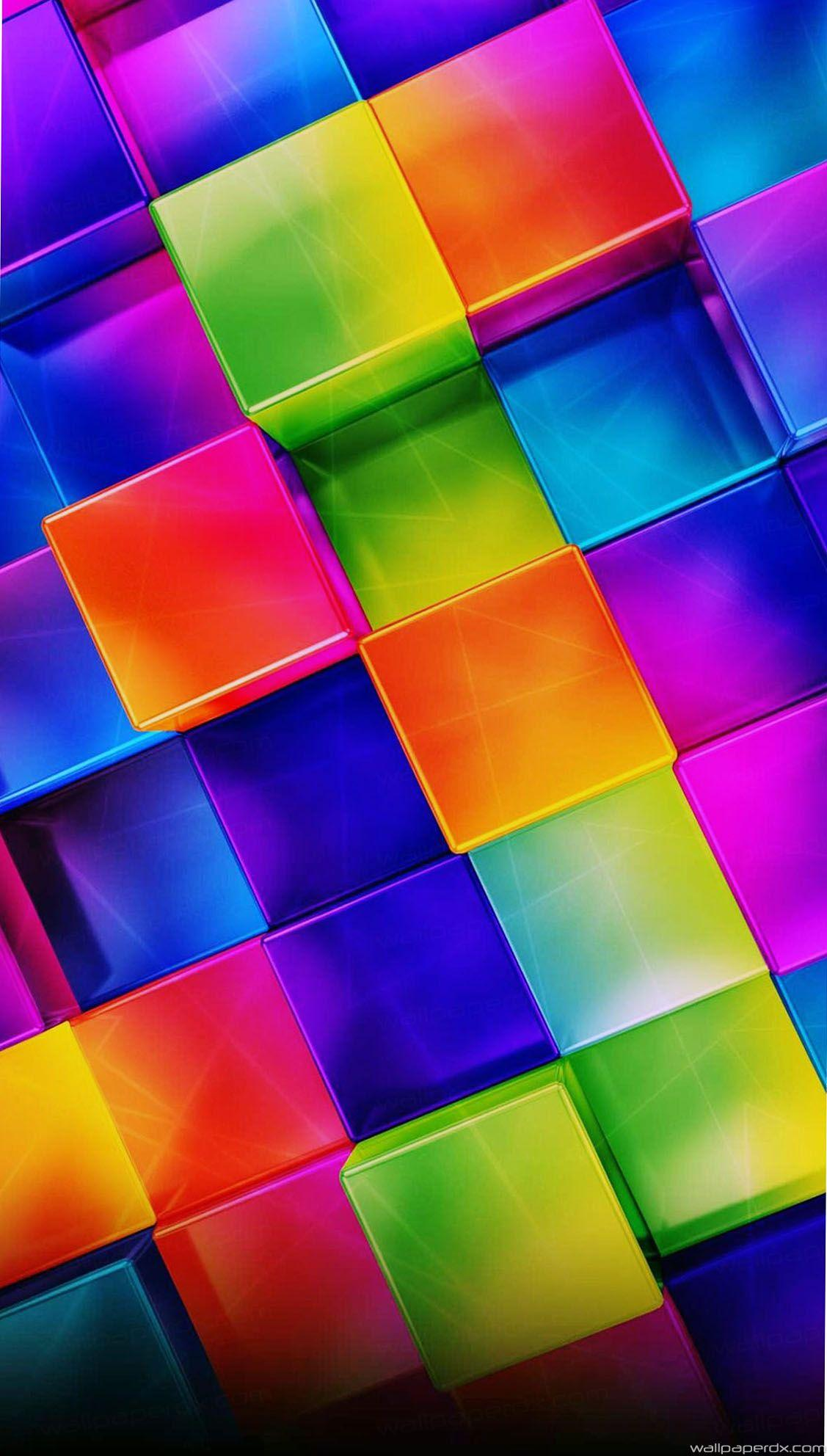 3d colorful geometric android iphone full hd wallpapers