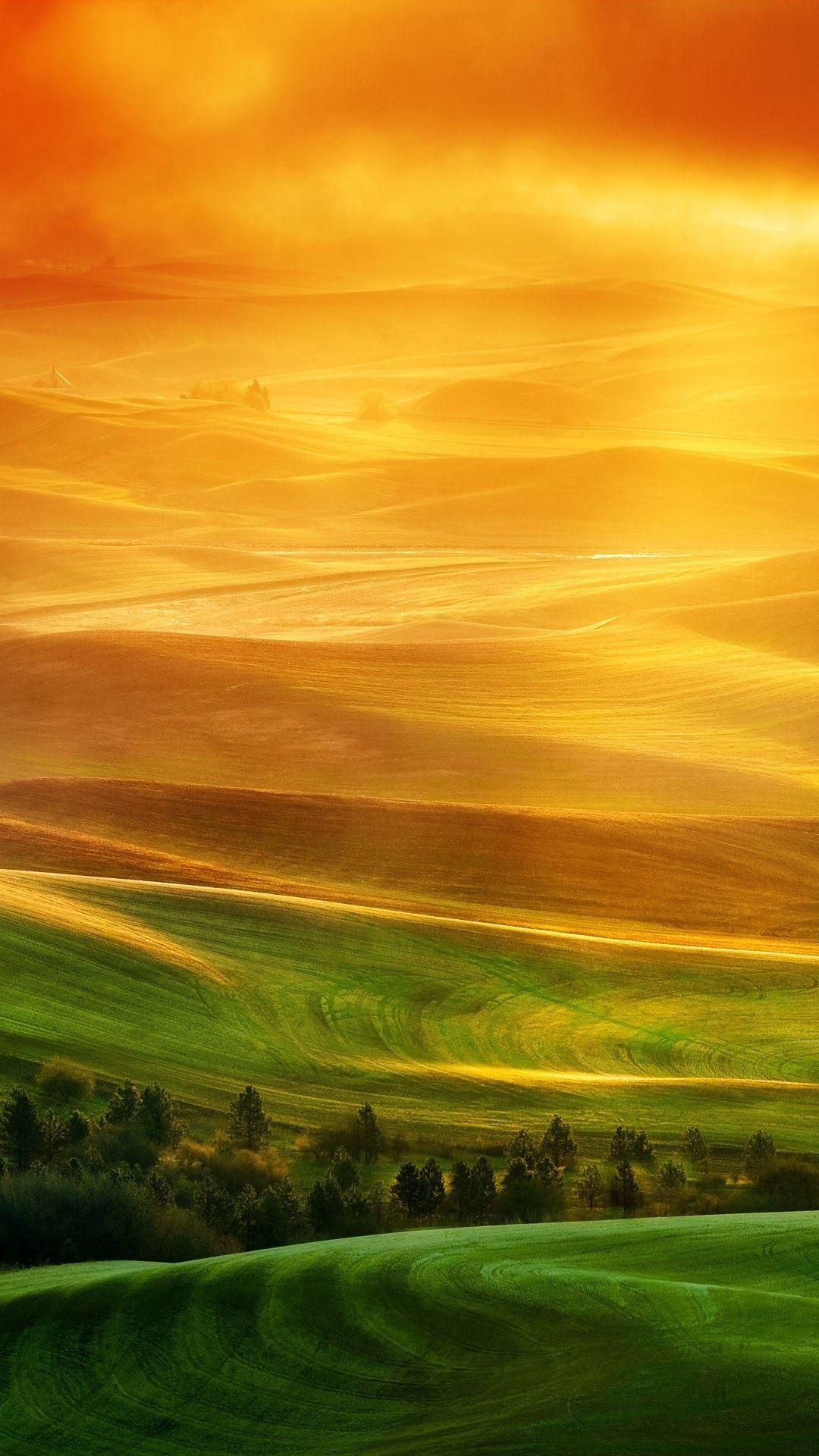 HTC One X Full HD Green Fields Sunset Android Wallpapers free download