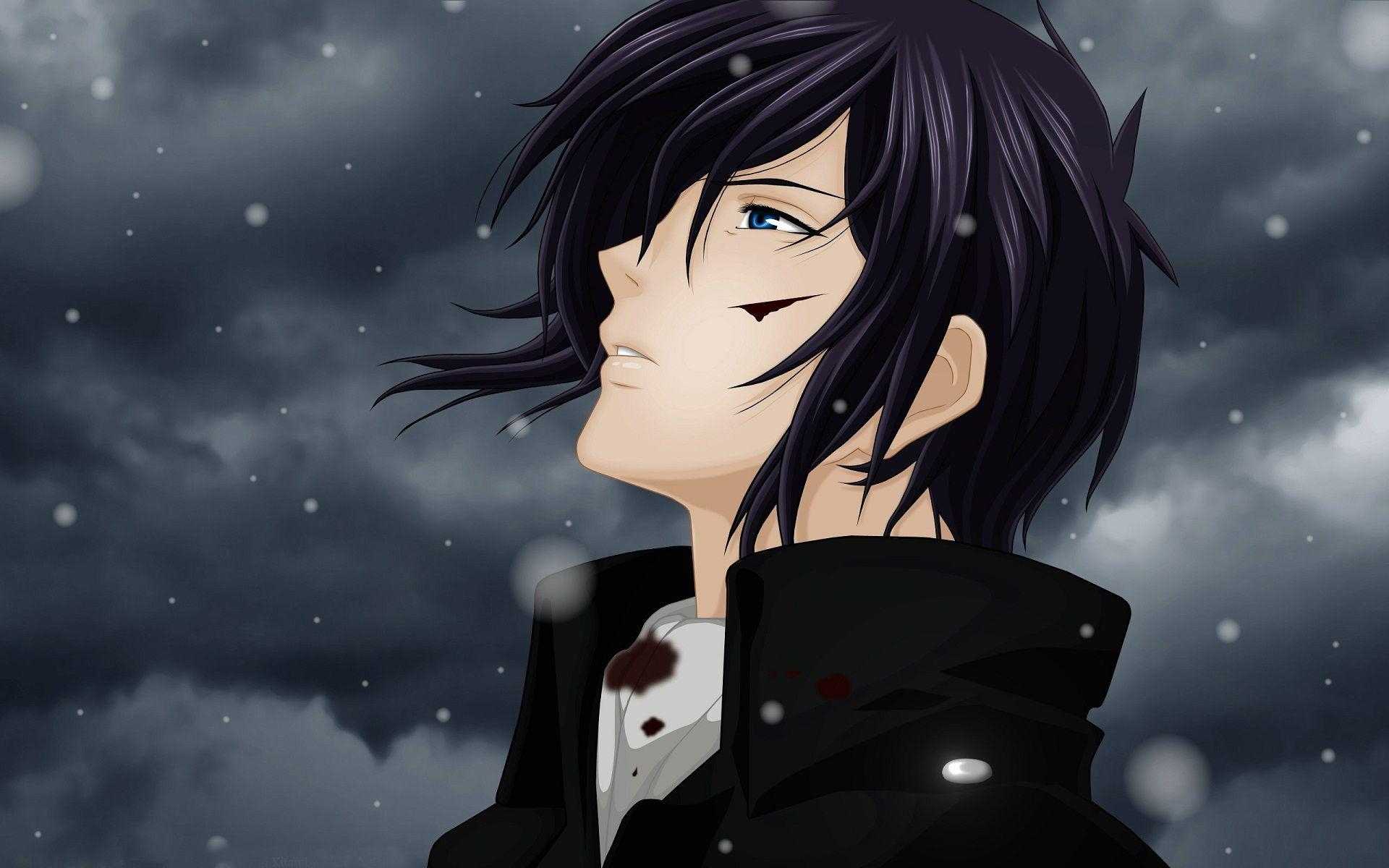 Hd sad boy anime snow handsome dark clouds wallpaper manga