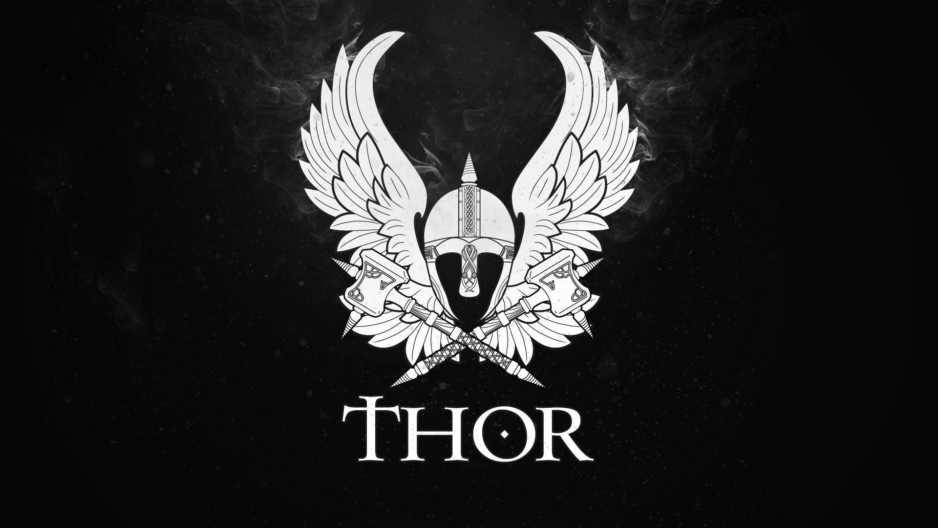 Wings thor hammer helmets black backgrounds symbols wallpapers