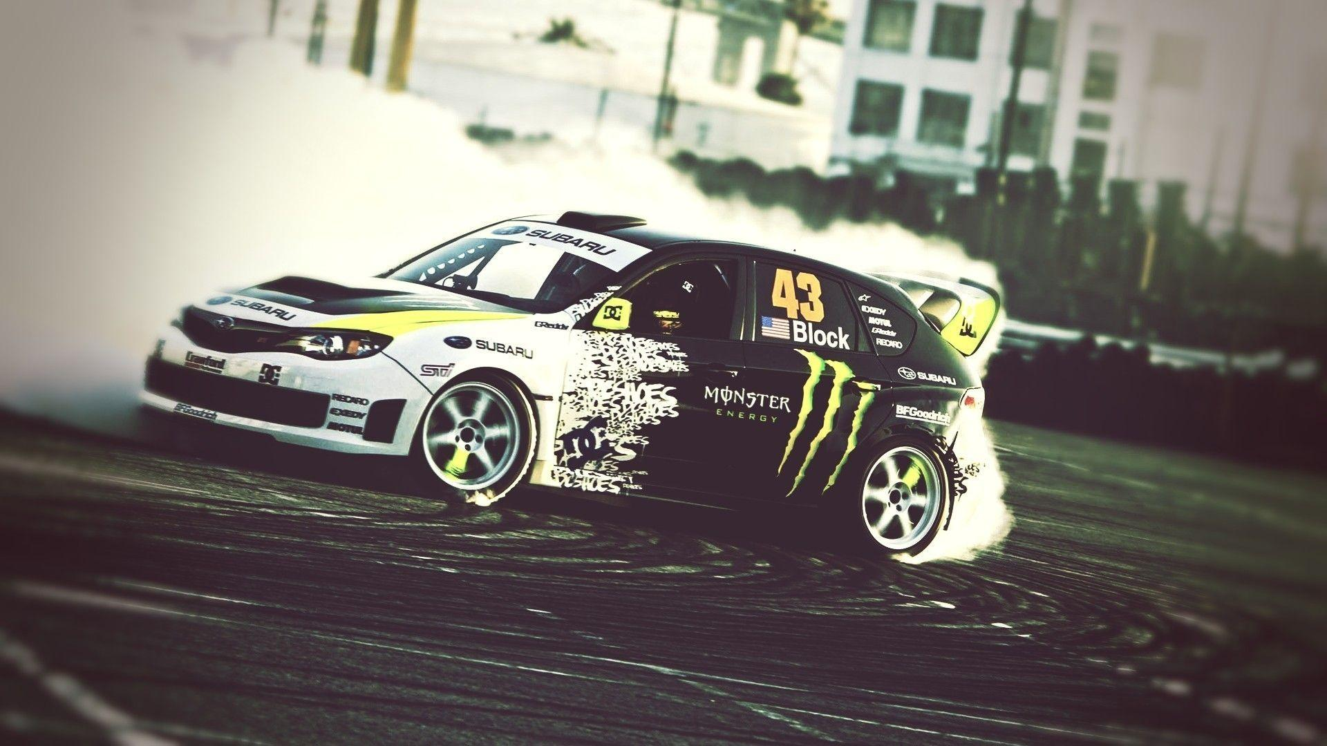 Wallpapers : vehicle, Drifting, sports car, Subaru, Monster Energy