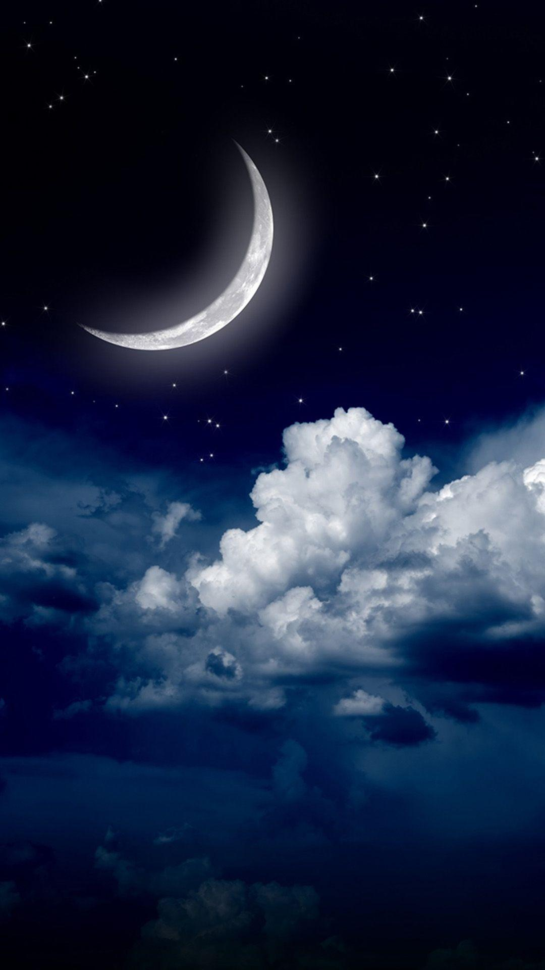 Sky clouds moon. iPhone wallpapers of night stars view and scenery ...
