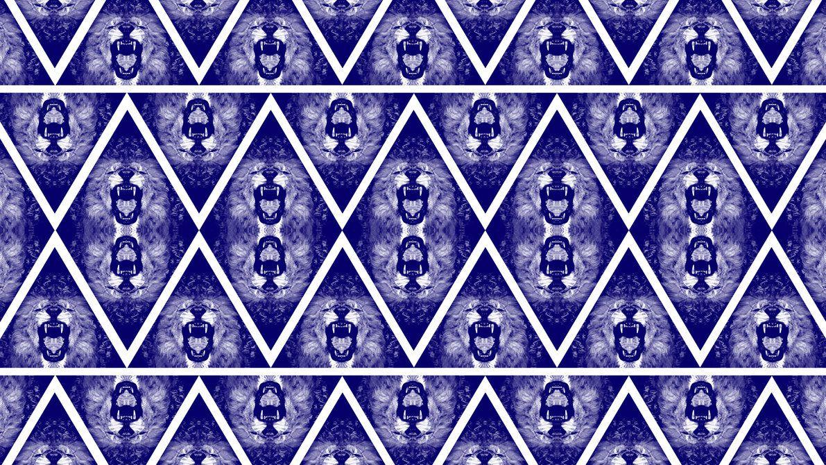 Blue Lion Triangle Bandana Pattern Wallpapers by cugini