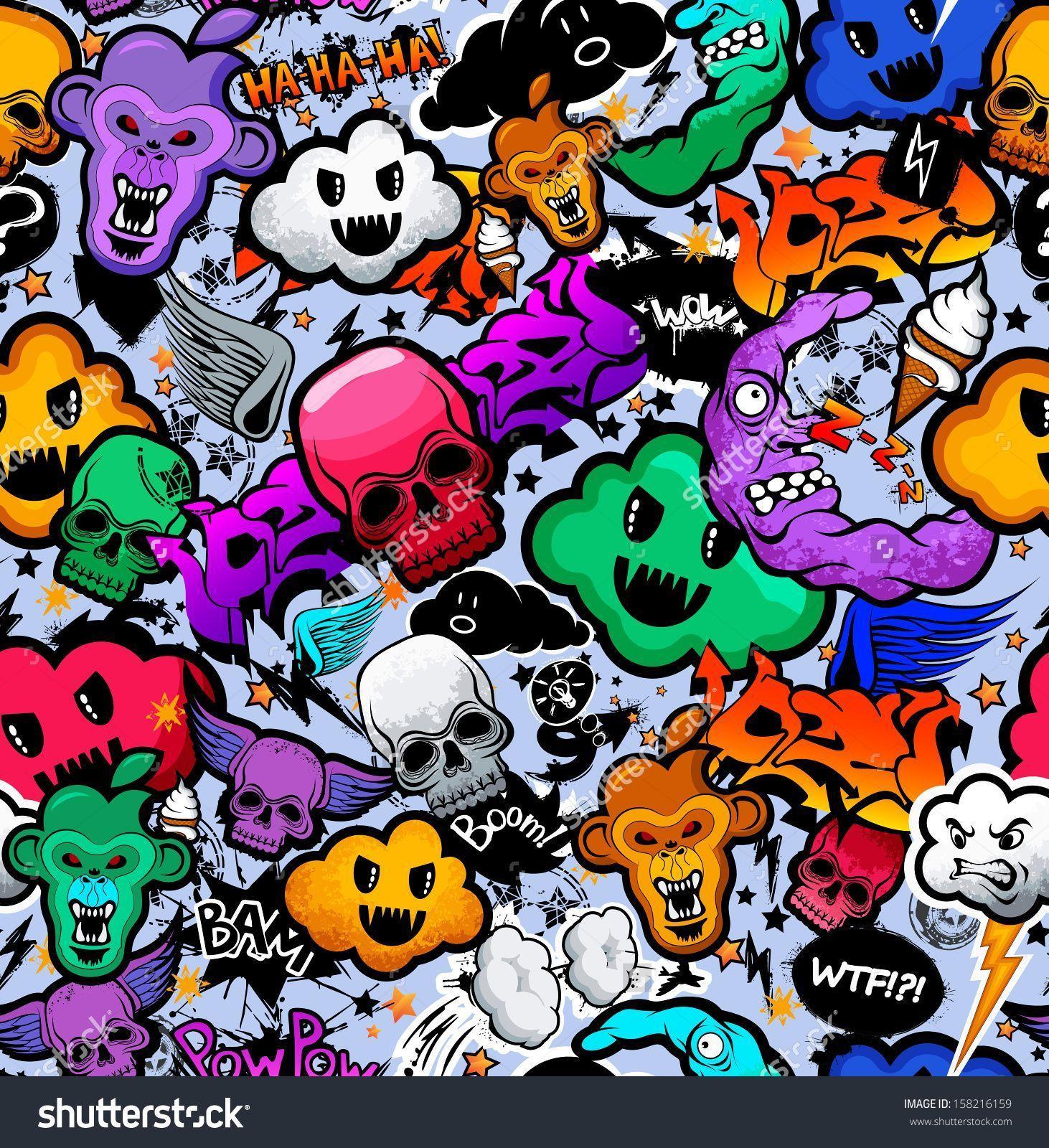 Stock Vector Graffiti Cartoon Bizarre Funky Characters Seamless