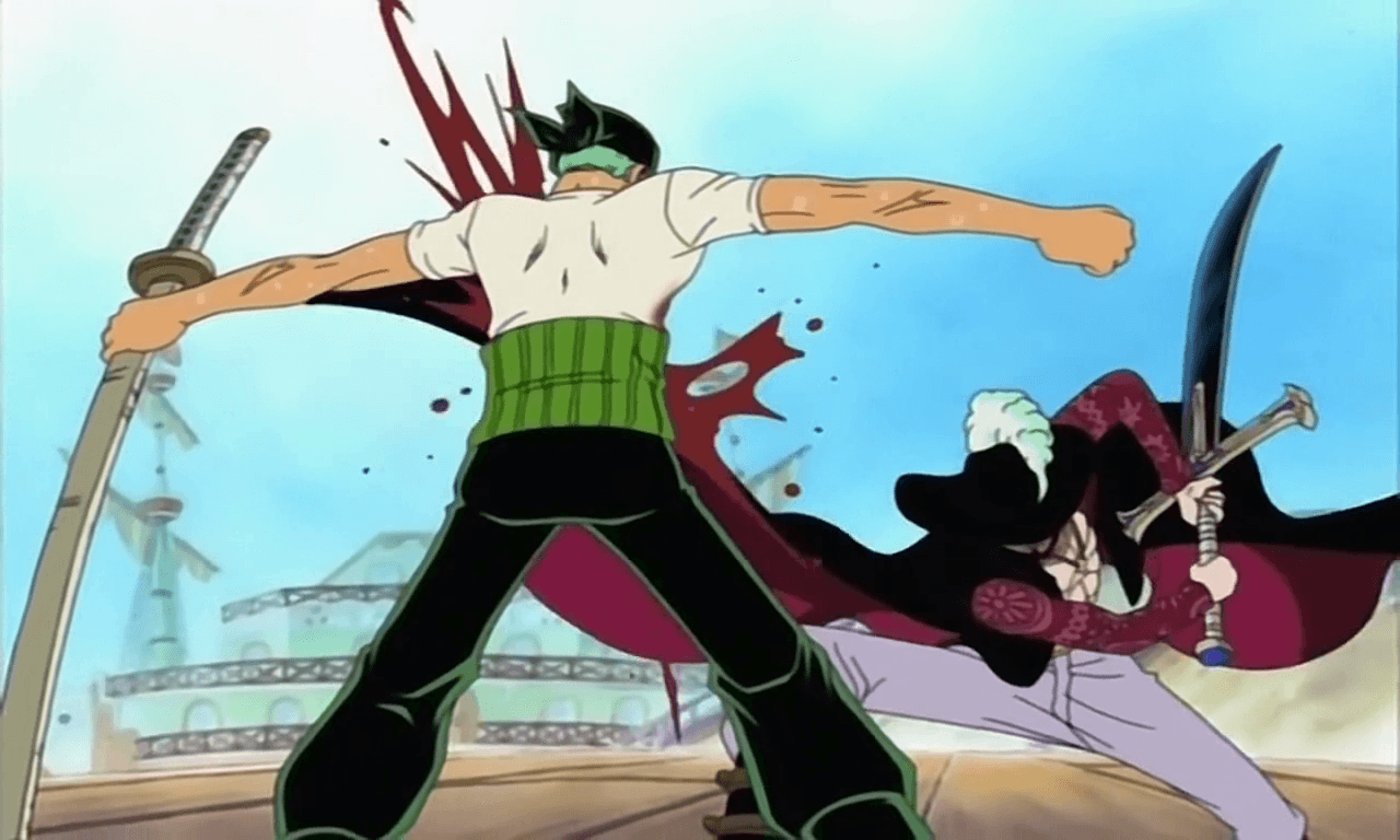 one piece zoro vs mihawk