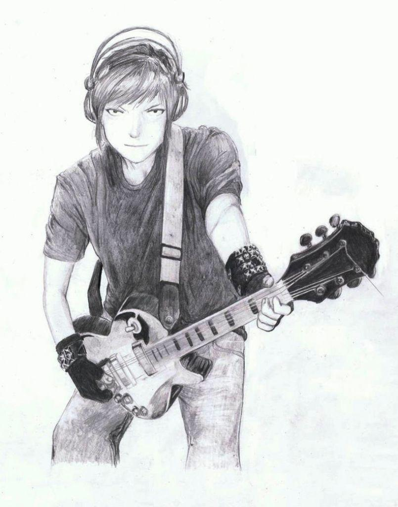 Sad Boy Guitar Pencil Sketch Sketch Wallpapers Of Boys Sketch