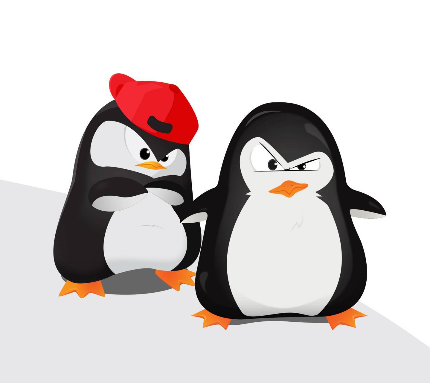 Смешные пингвины рисунки, одеждой обувью