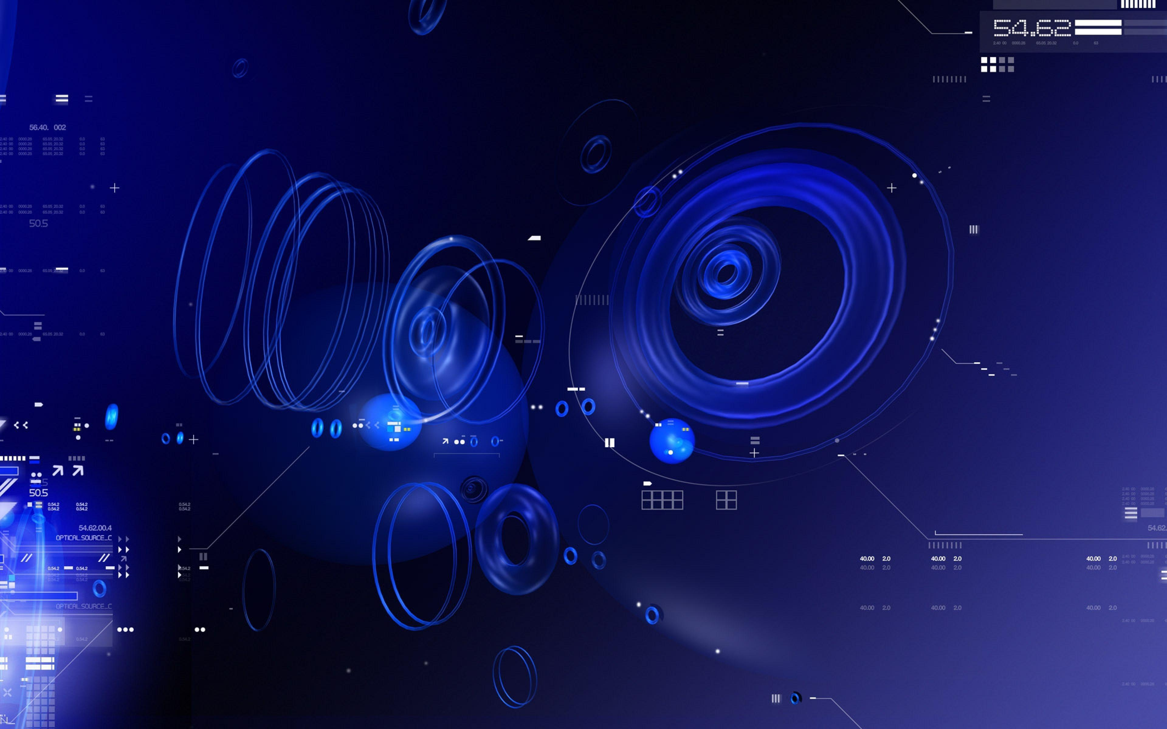 3840x2400 Wallpapers blue, black, abstract, white, circles, numbers