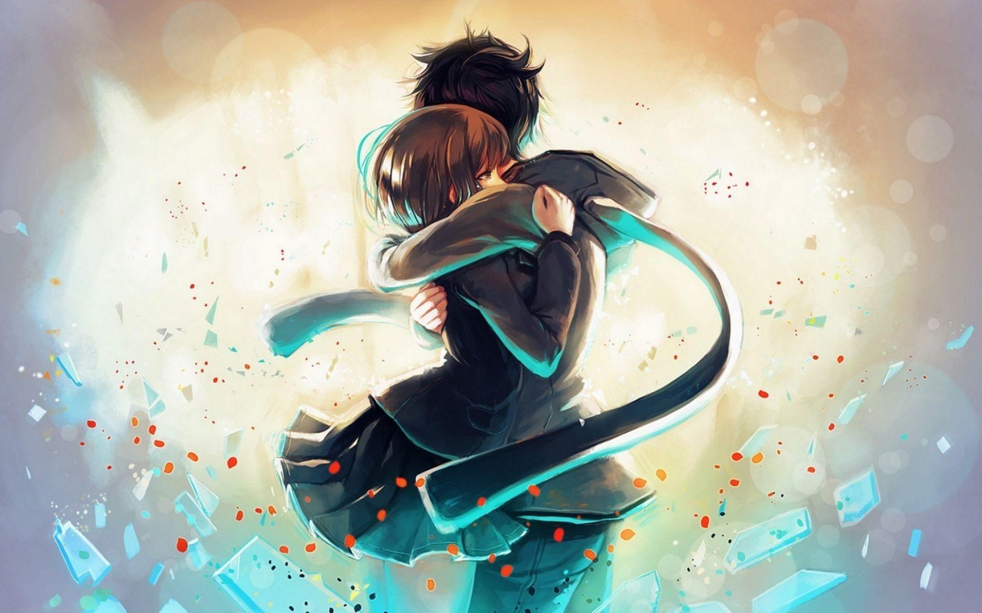 Hug Anime Couple Hd Wallpaper Mthemes
