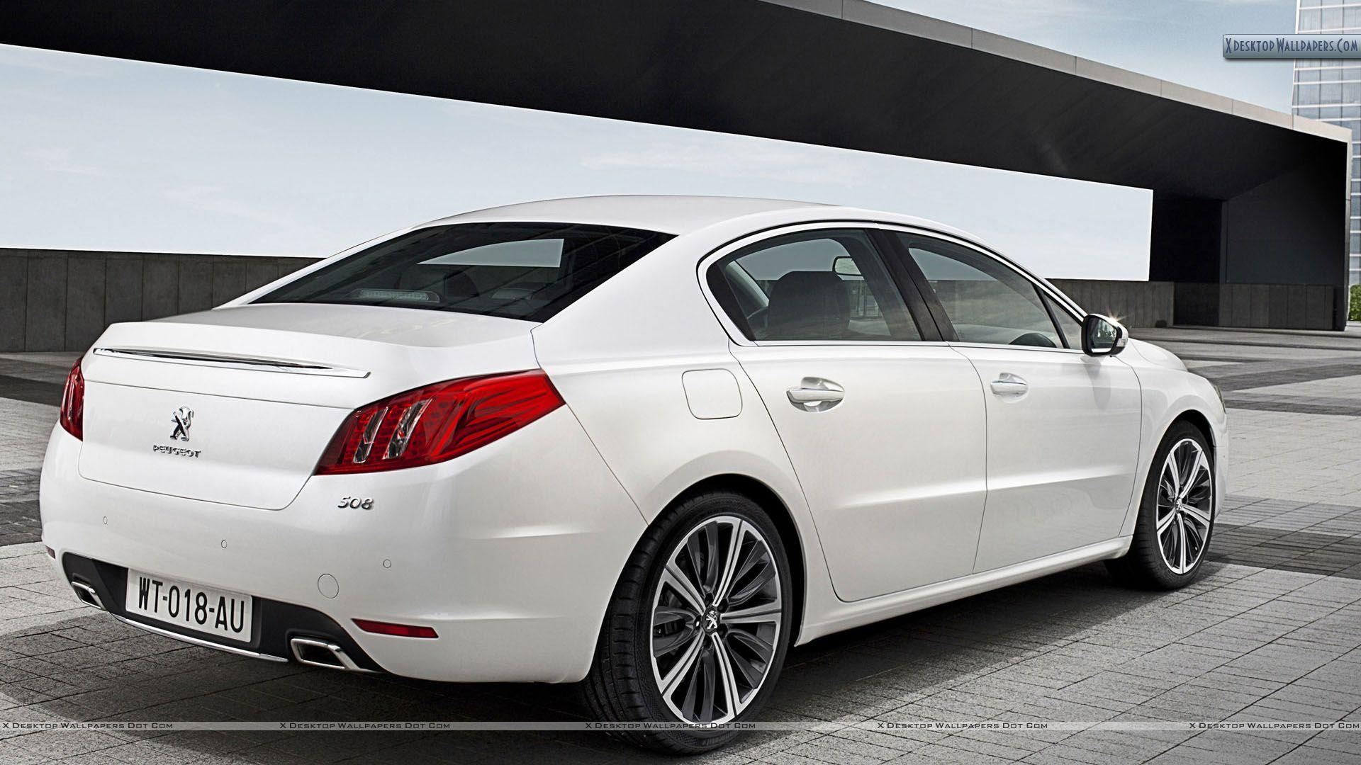 Peugeot 508 Saloon Back Pose in White Color Wallpapers