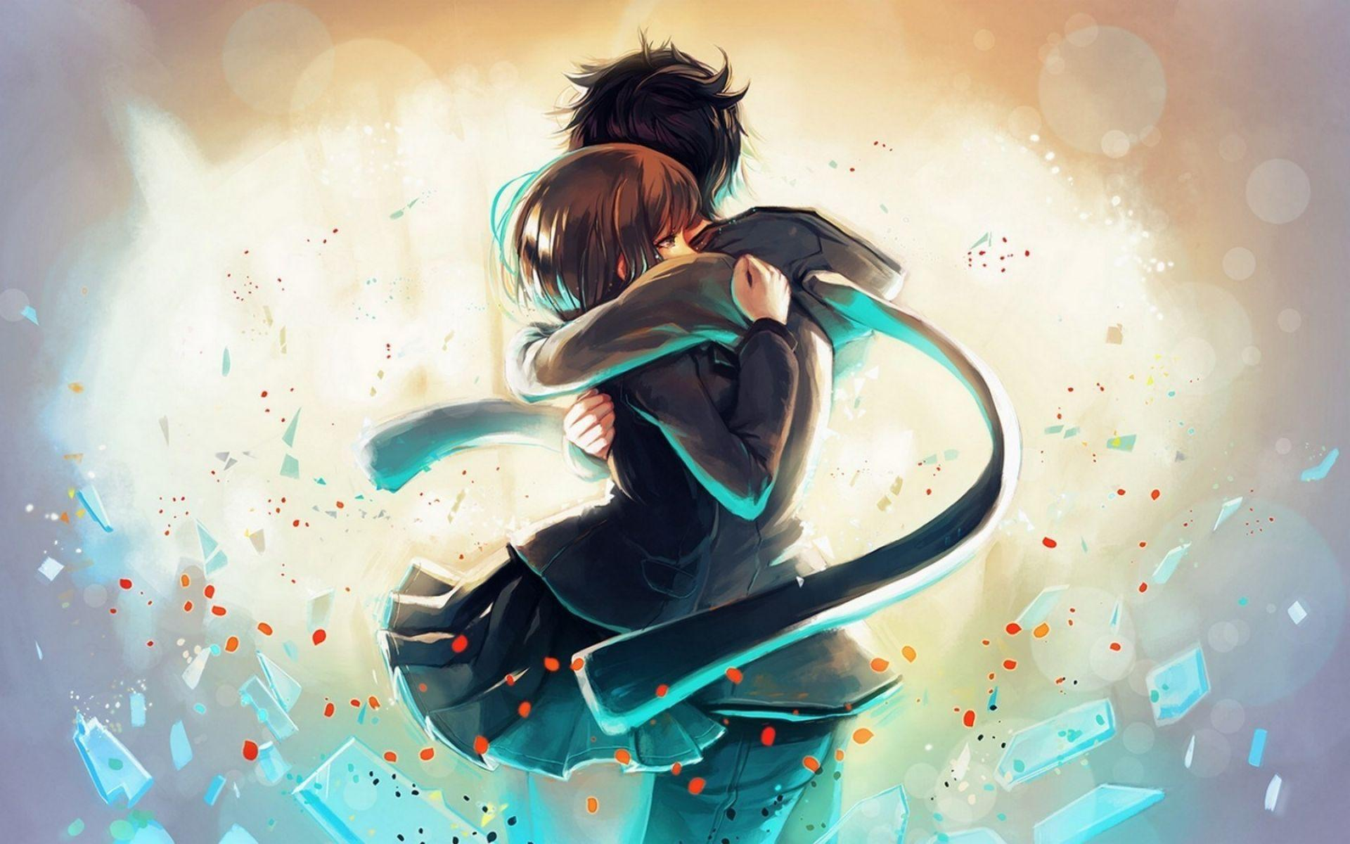 Anime girl boy hug love art wallpaper hd anime wallpapers for
