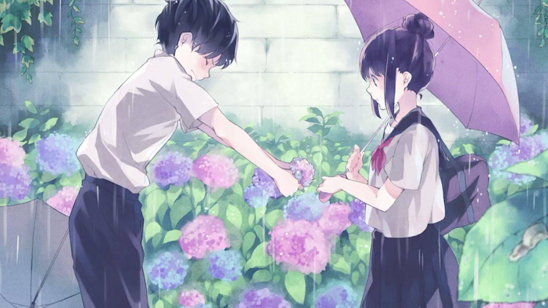 Anime boy giving flowers to girl wallpaper wallpaper studio 10