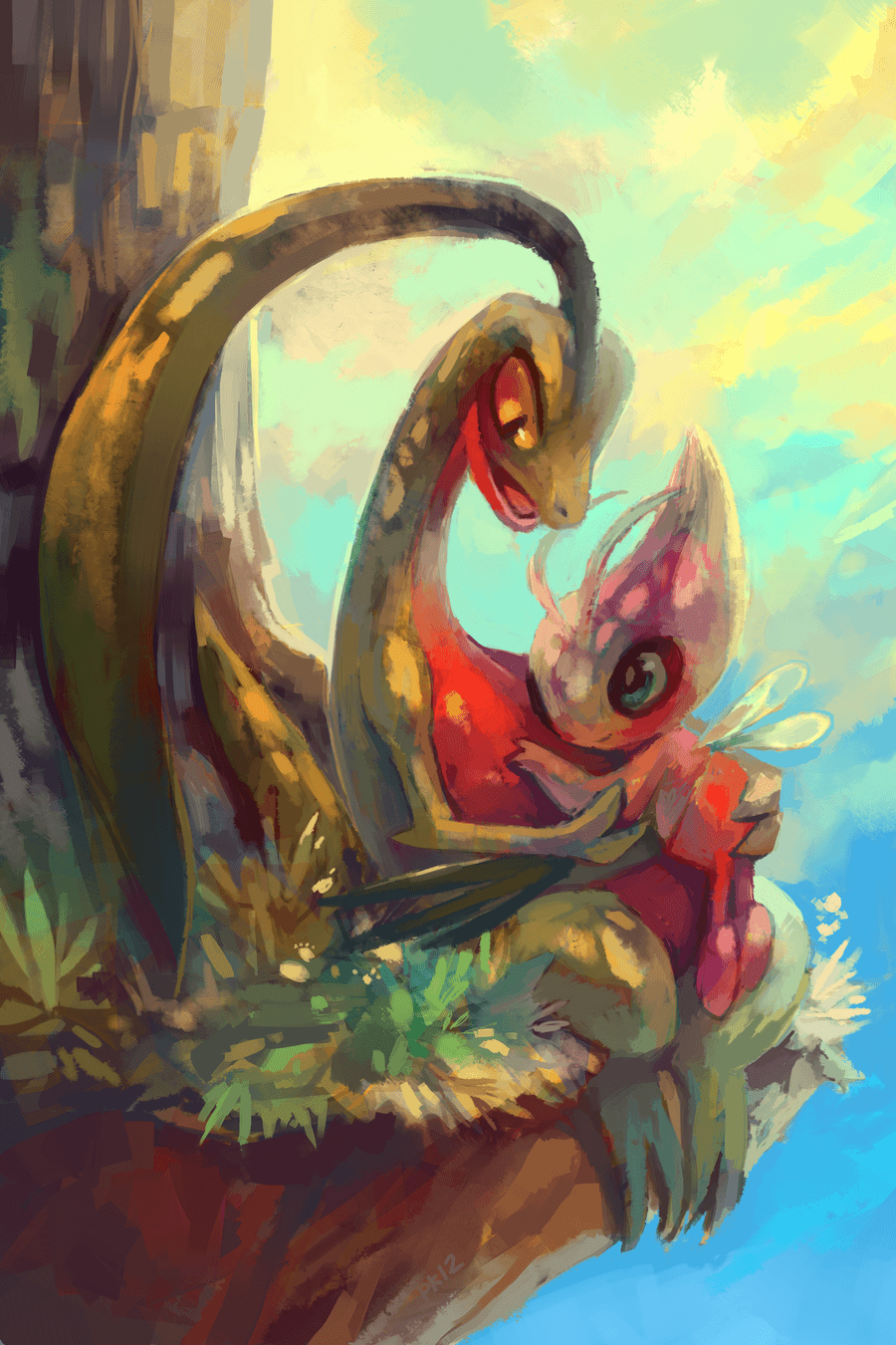 Celebi and Grovyle by *purplekecleon on deviantART