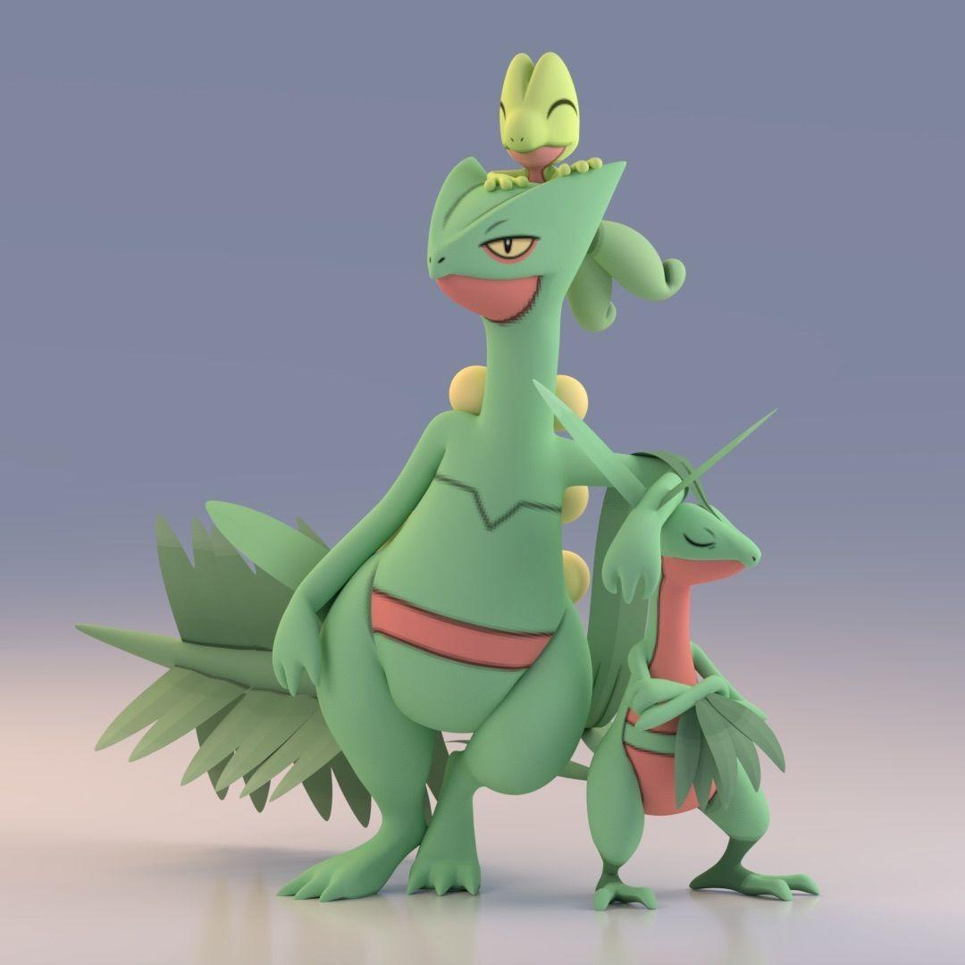 Render of Sceptile, Grovyle, and Treeko using Pokemon X and Y